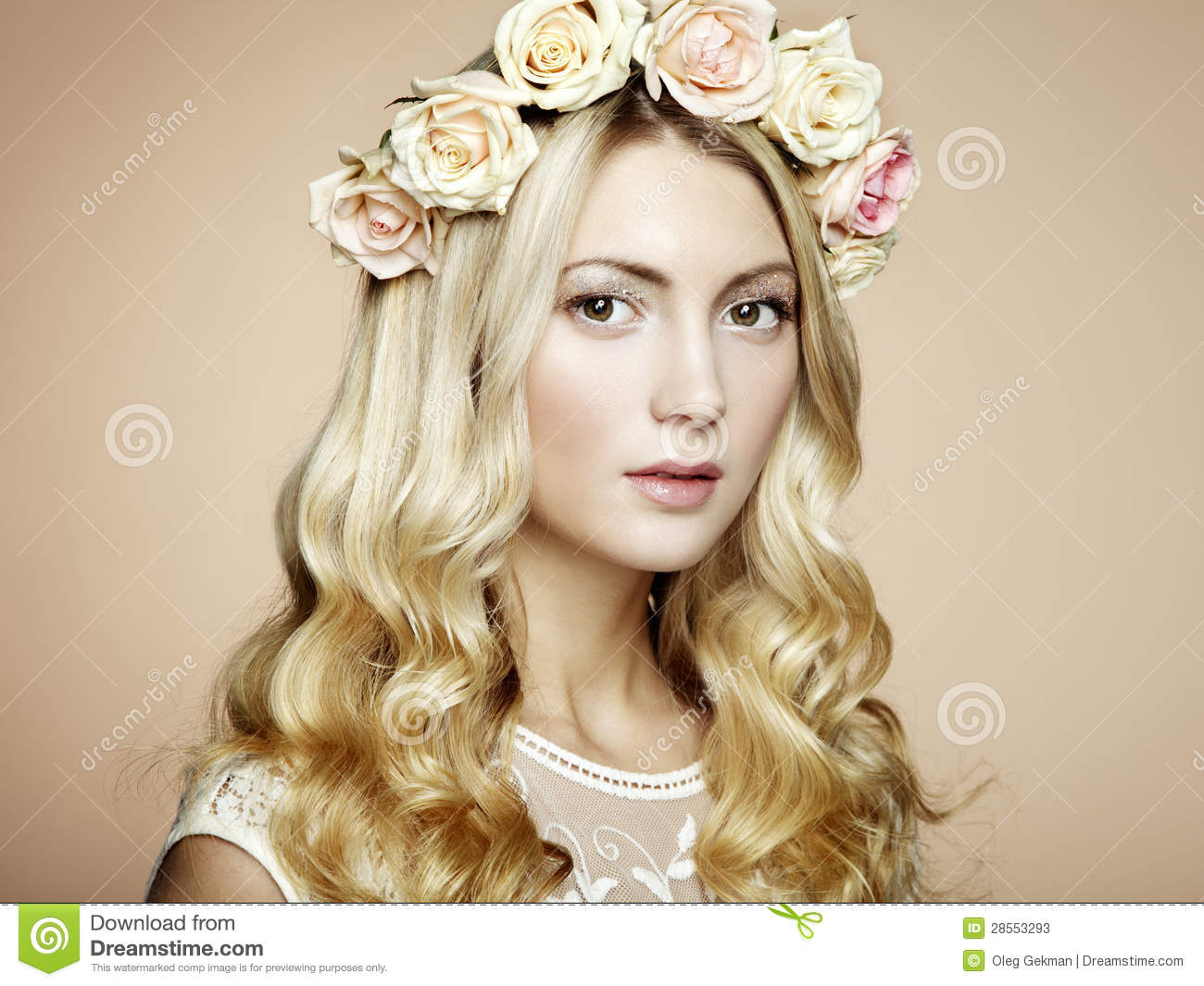 Portrait of a beautiful blonde woman with flowers in her hair portrait of a beautiful blonde woman with flowers in her hair stock photos dhlflorist Gallery