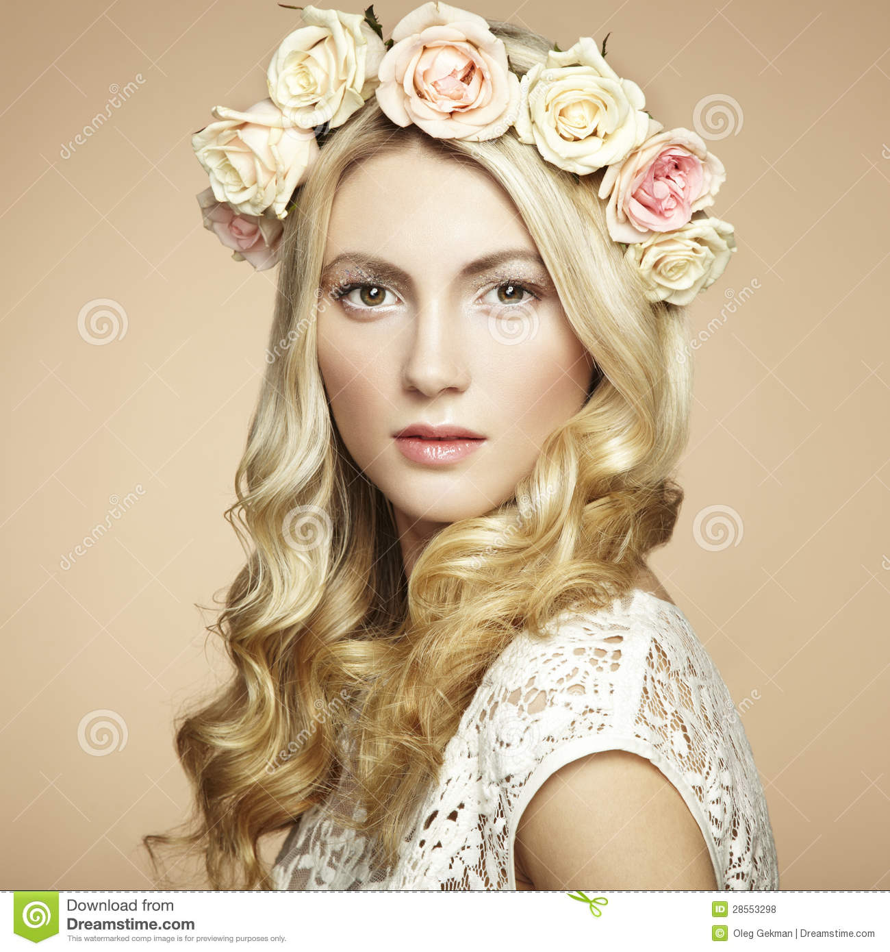 Portrait Of A Beautiful Blonde Woman With Flowers By