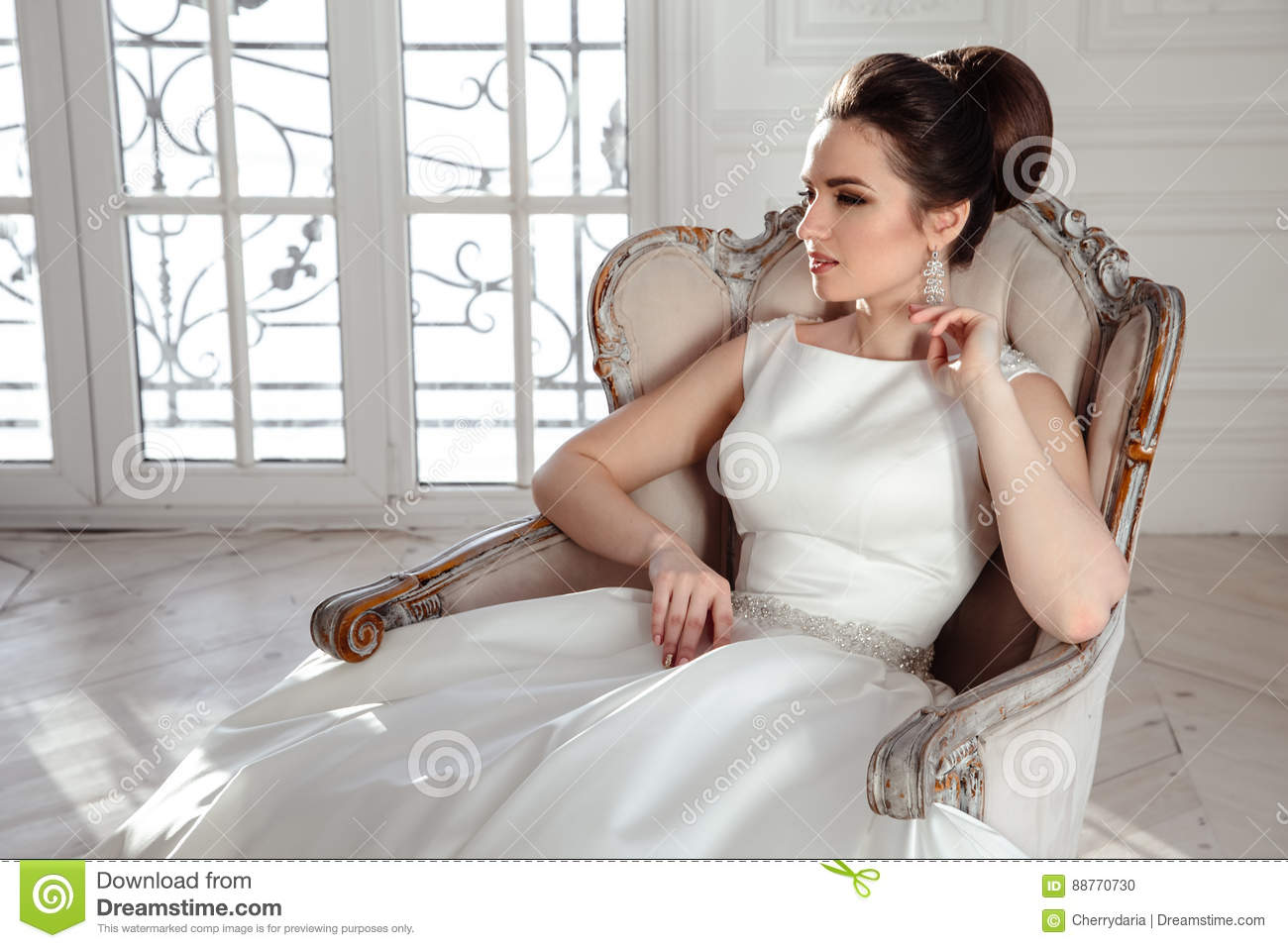 Portrait Of Beautiful Brunette Bride With Elegant Hairstyle And ...