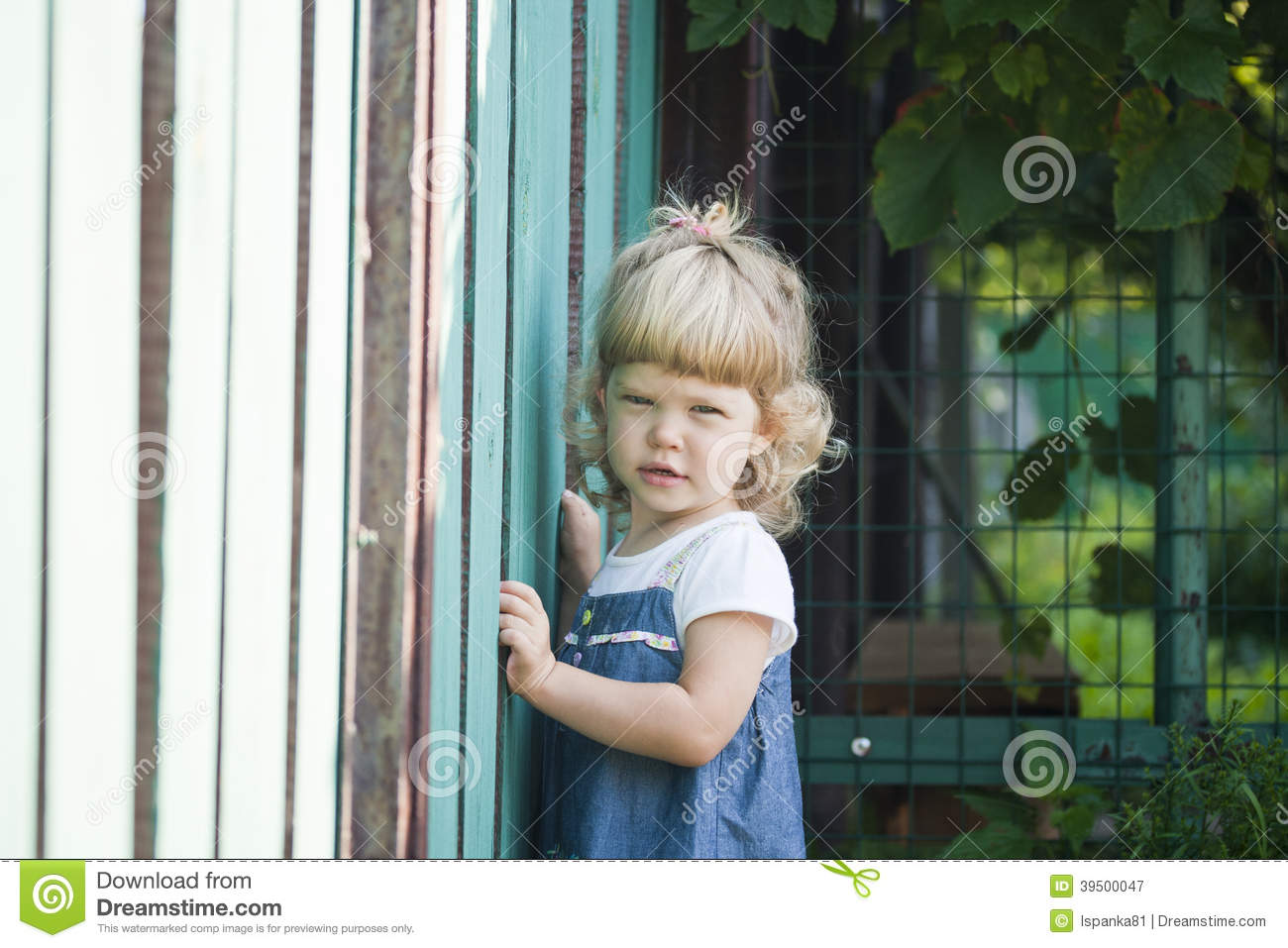 Portrait of the beautiful child with a curly hair about a fence
