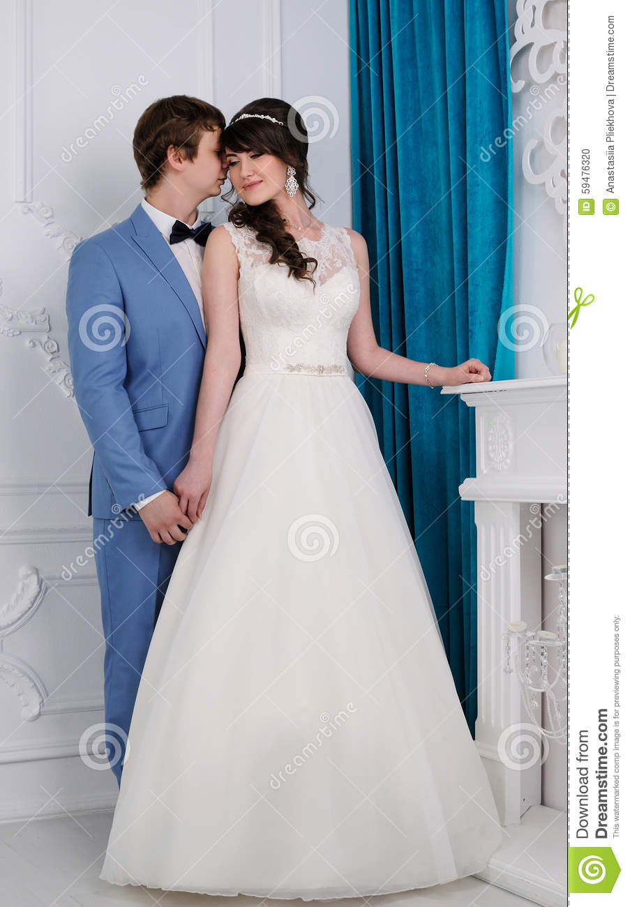 Portrait Of Beautiful Couple. Wedding Dress. Wedding Accessories ...