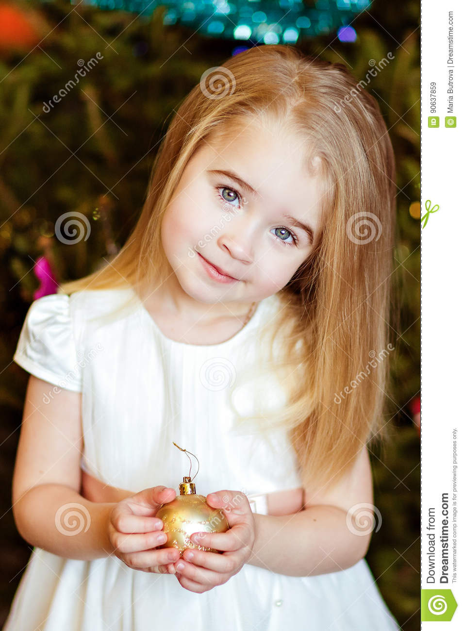 portrait of a beautiful cute girls baby blonde with straight hai