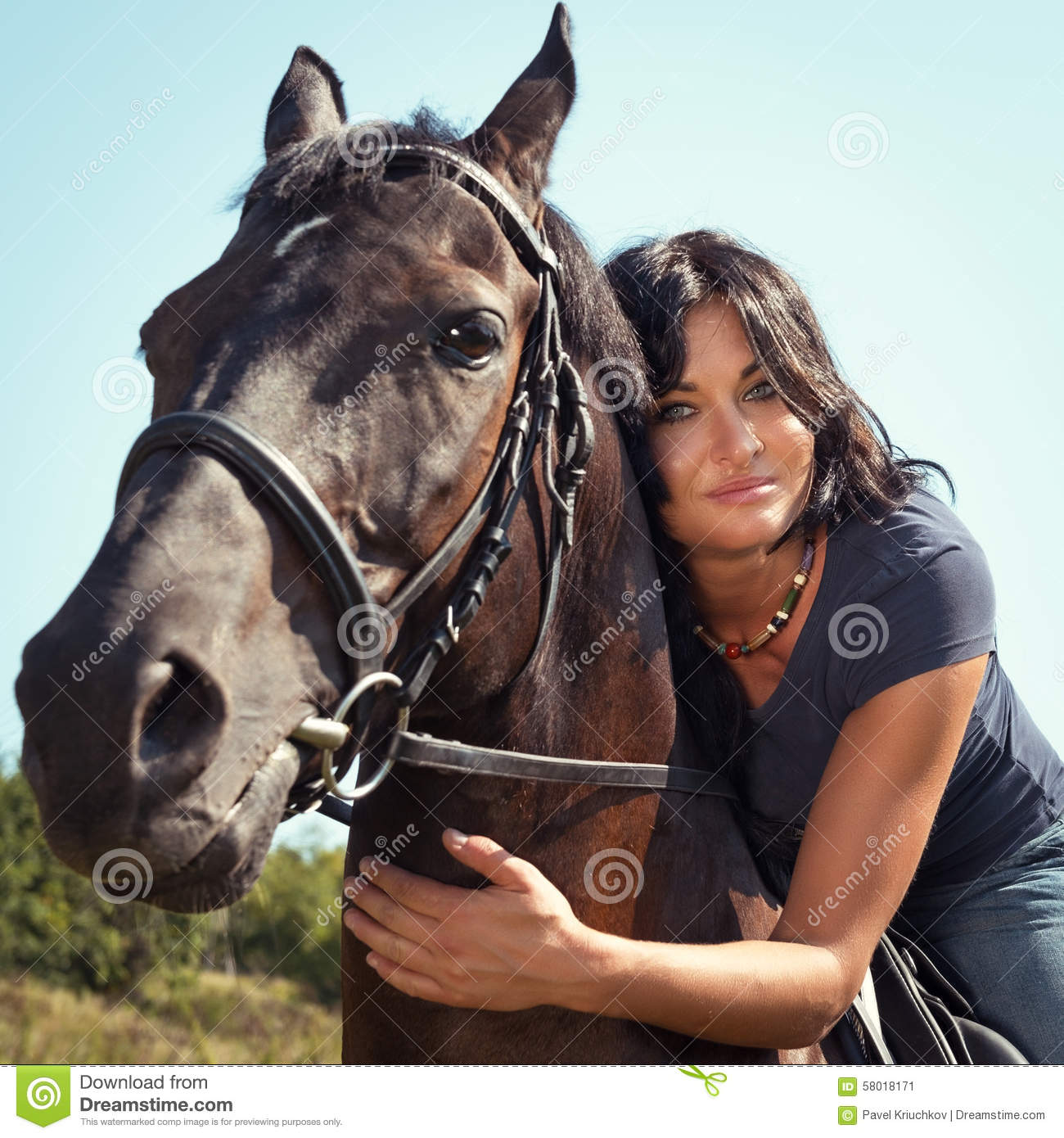 Portrait Of Beautiful Dark Haired Woman On A Horse Stock Image Image Of Animal Tree 58018171