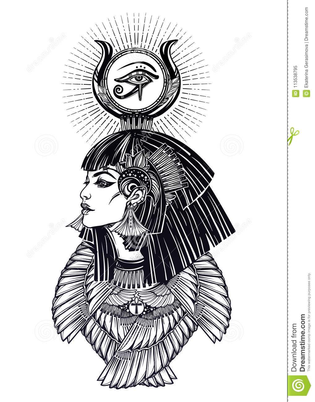 bbadbbc2f Portrait Of A Beautiful Egyptian Goddess. Stock Vector ...