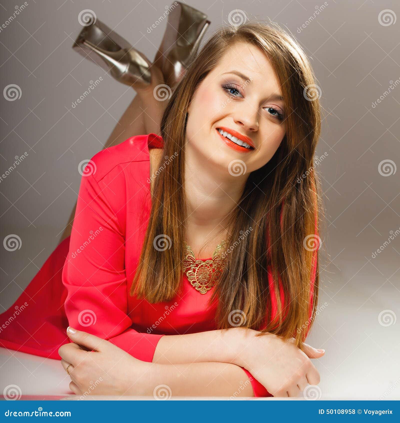Portrait Beautiful Fashion Woman Teen Girl In Red Dress Stock ...
