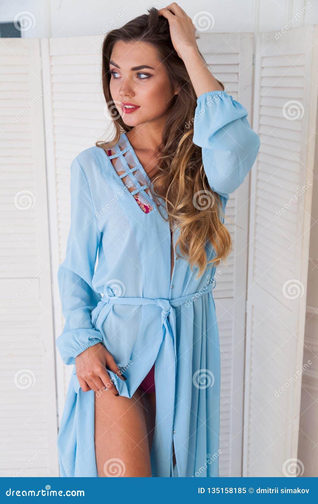 Portrait of beautiful fashionable women in linen robe