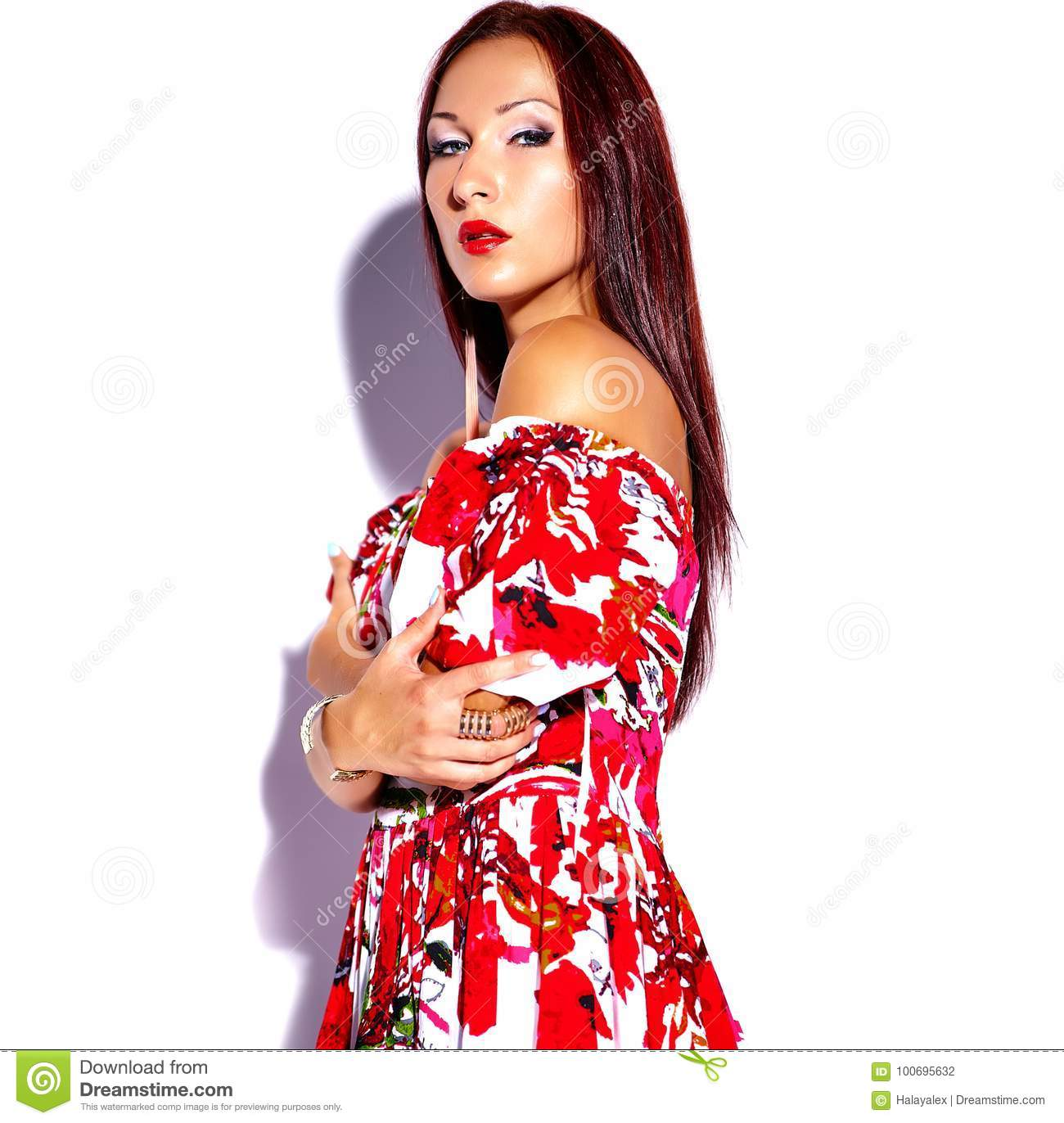 4d112b49bff Portrait of beautiful funny brunette woman girl in colorful bright summer  red dress isolated on white