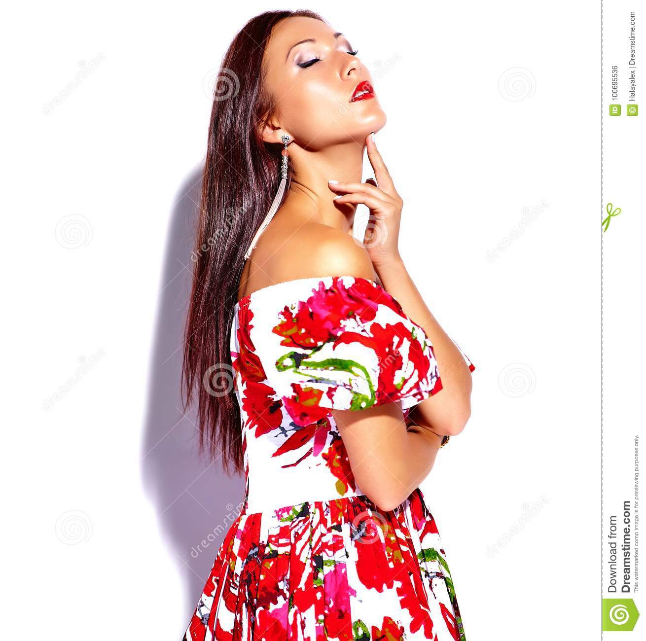0301d9facde Brunette Woman Girl Going Crazy In Colorful Bright Summer Red Dress ...