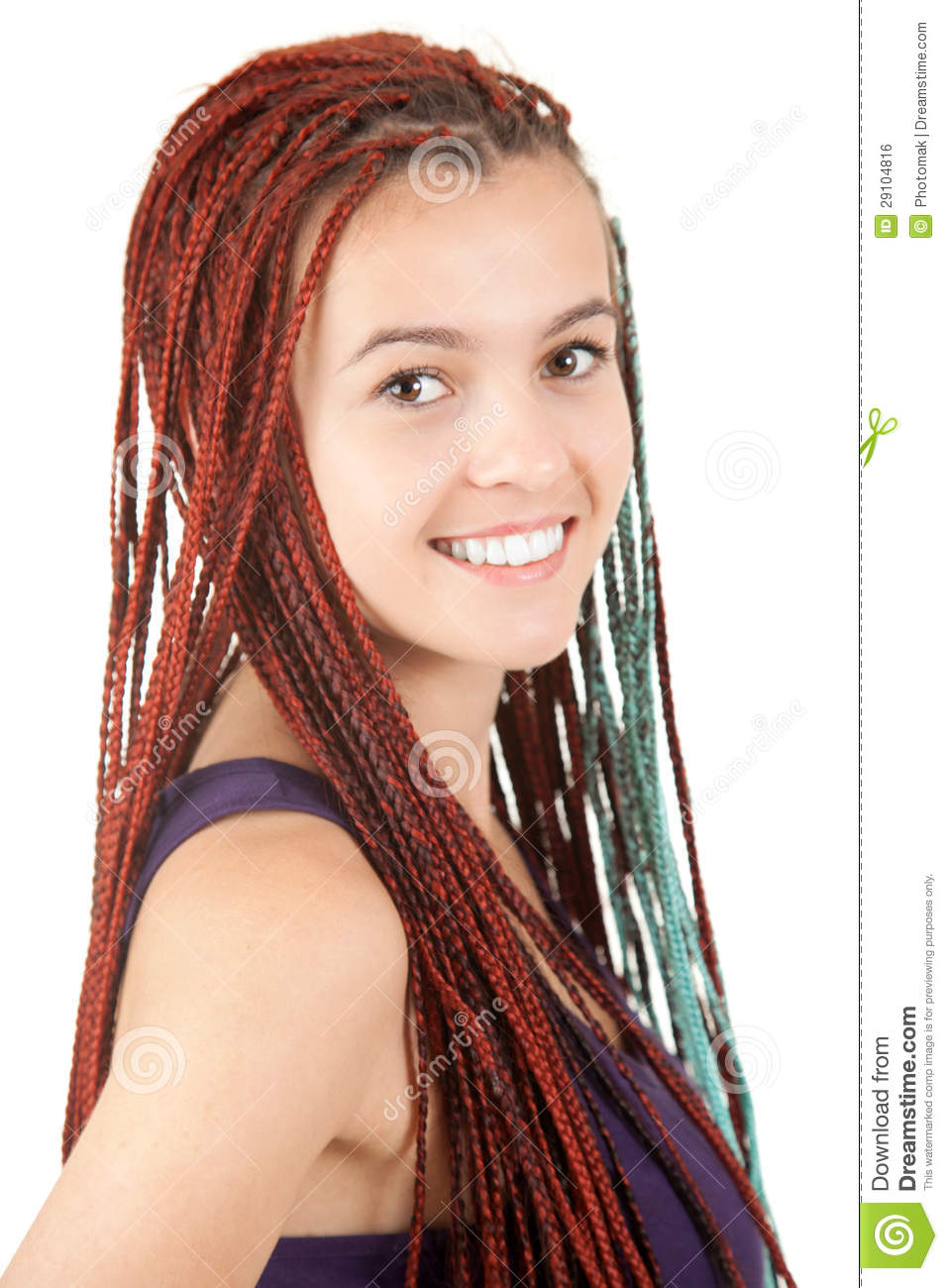 Portrait Of Beautiful Girl With African Plaits Royalty