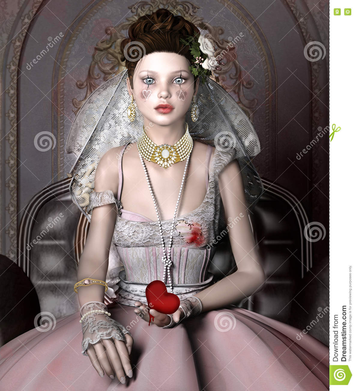 Portrait Of A Beautiful Girl Stock Illustration Image
