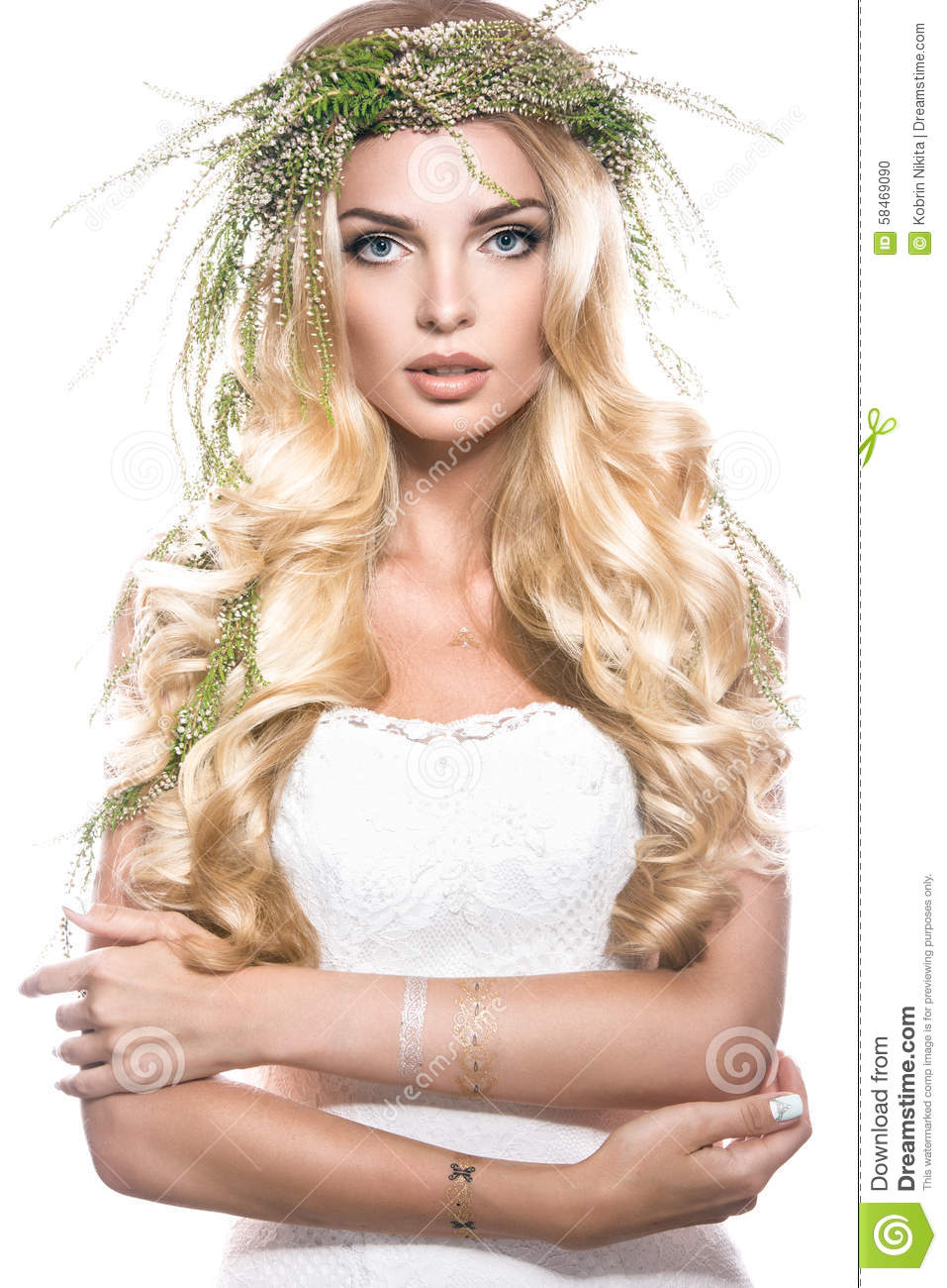 Portrait of a beautiful girl with flowers on her stock photo image portrait of a beautiful girl with flowers on her izmirmasajfo