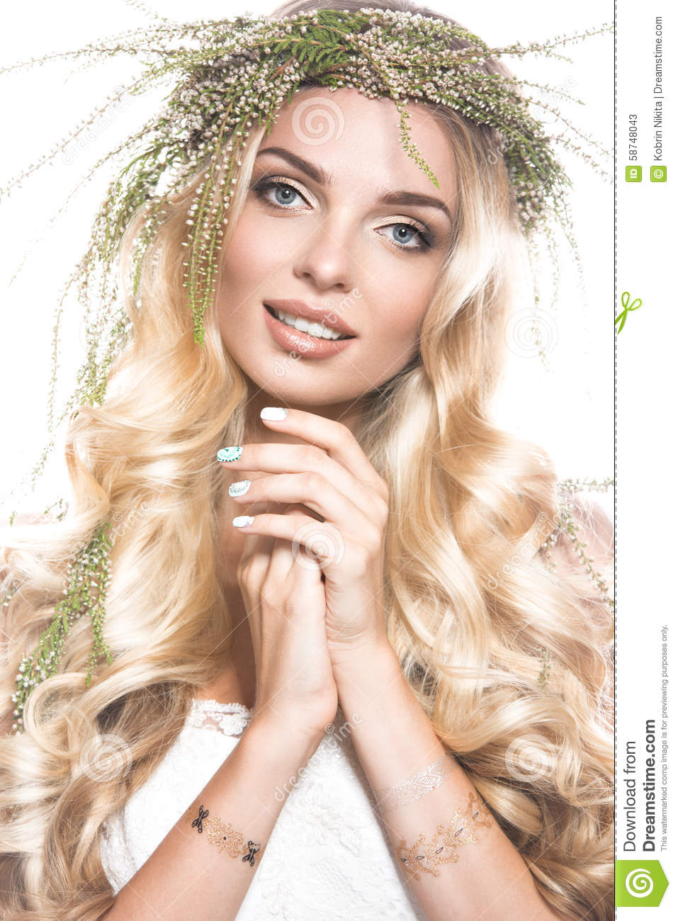 Portrait of a beautiful girl with flowers on her hair beauty face portrait of a beautiful girl with flowers on her hair beauty face wedding image in the style boho izmirmasajfo