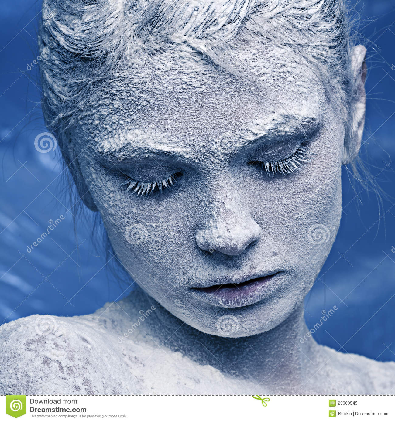 Portrait Of A Beautiful Girl In The Frost Stock Image
