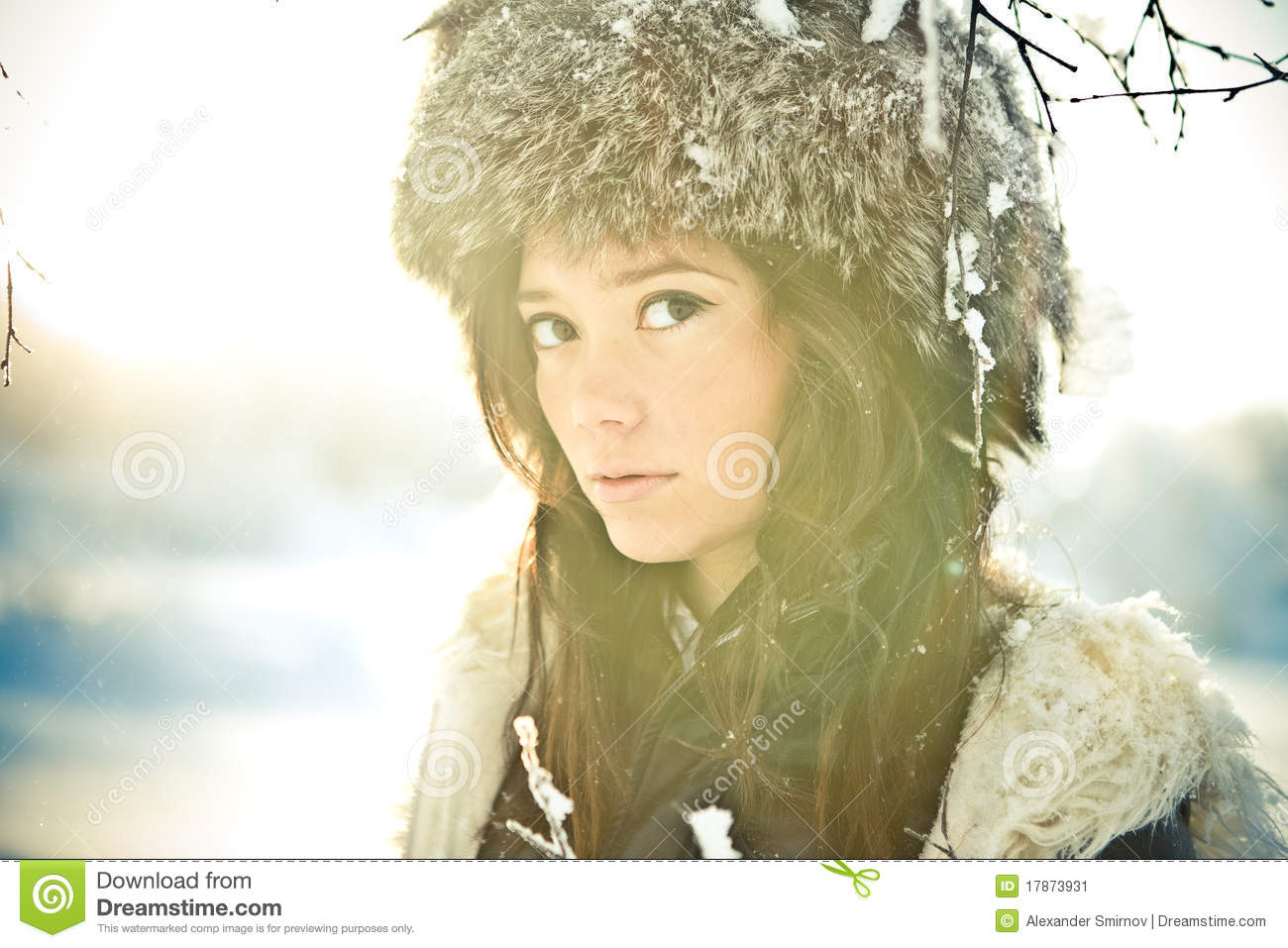 Portrait Of A Beautiful Girl In A Fur Hat In Backl Stock