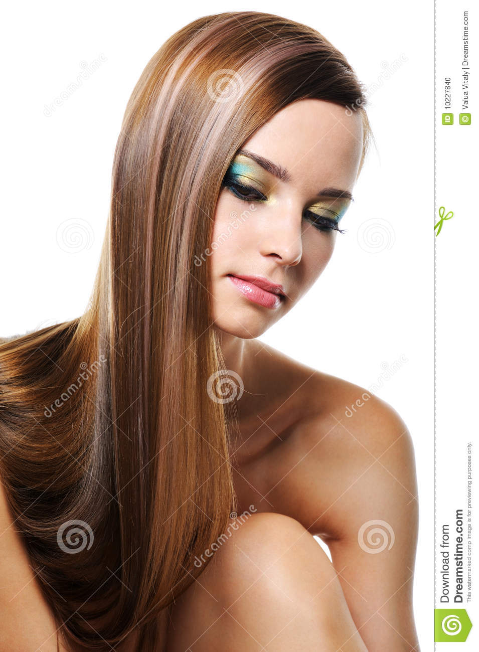 Portrait Of Beautiful Girl With Gloss Long Hair Stock ...