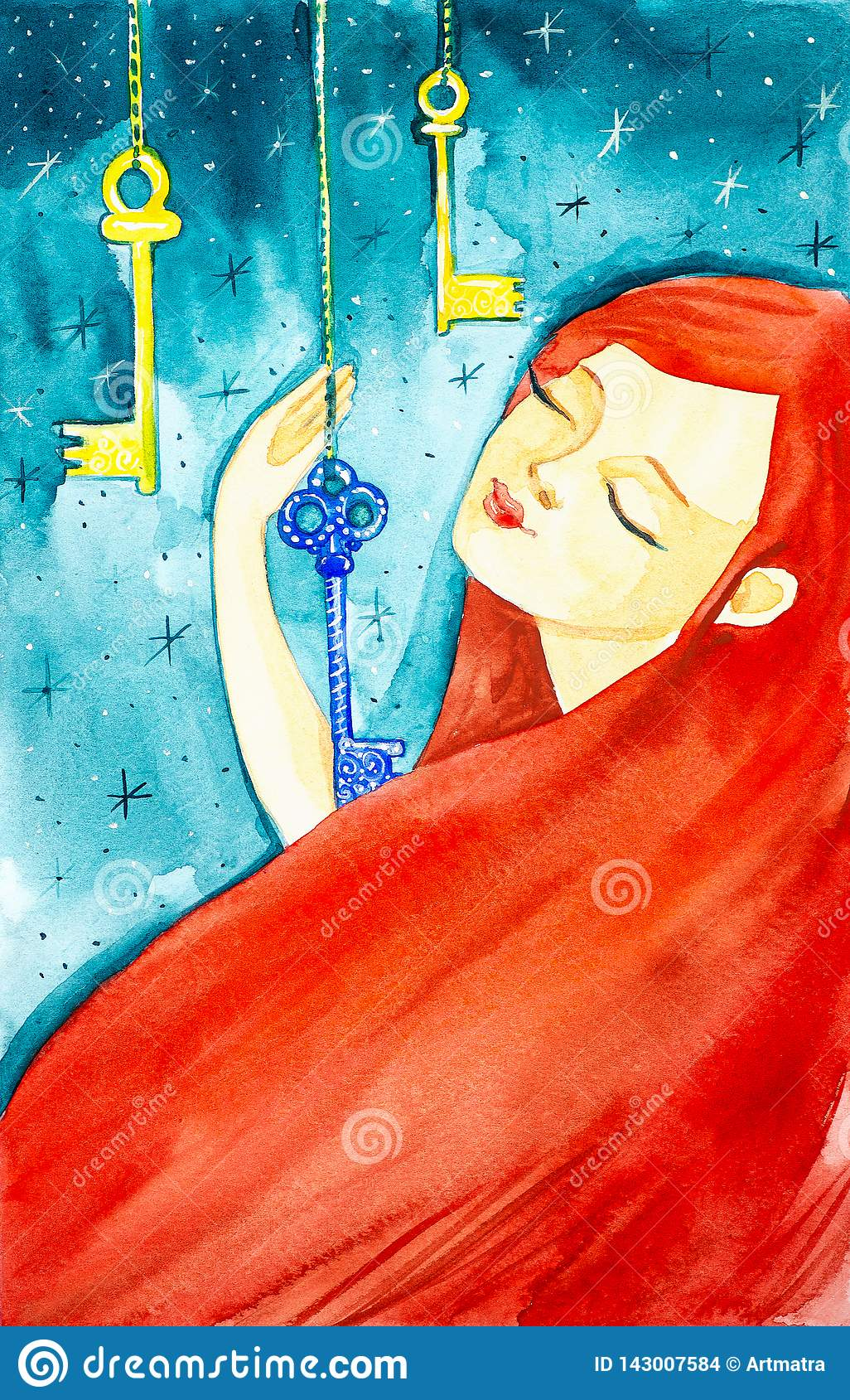 Portrait of a beautiful girl with long red hair and closed eyes. The girl holds one of the three fabulous keys hanging from the