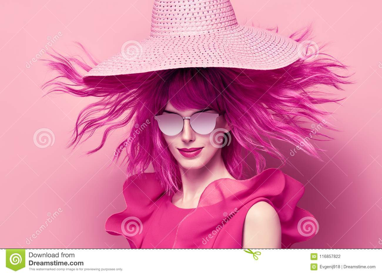 8cc2a3c0f14a Portrait Beautiful Girl. Pink Fashion Hairstyle Stock Photo - Image ...