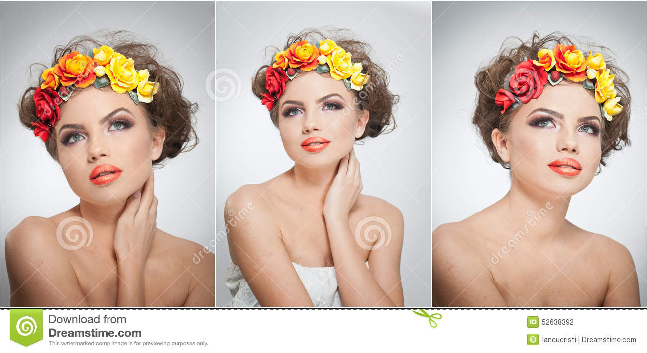 Portrait of beautiful girl in studio with yellow and red roses in her hair and naked shoulders. young woman
