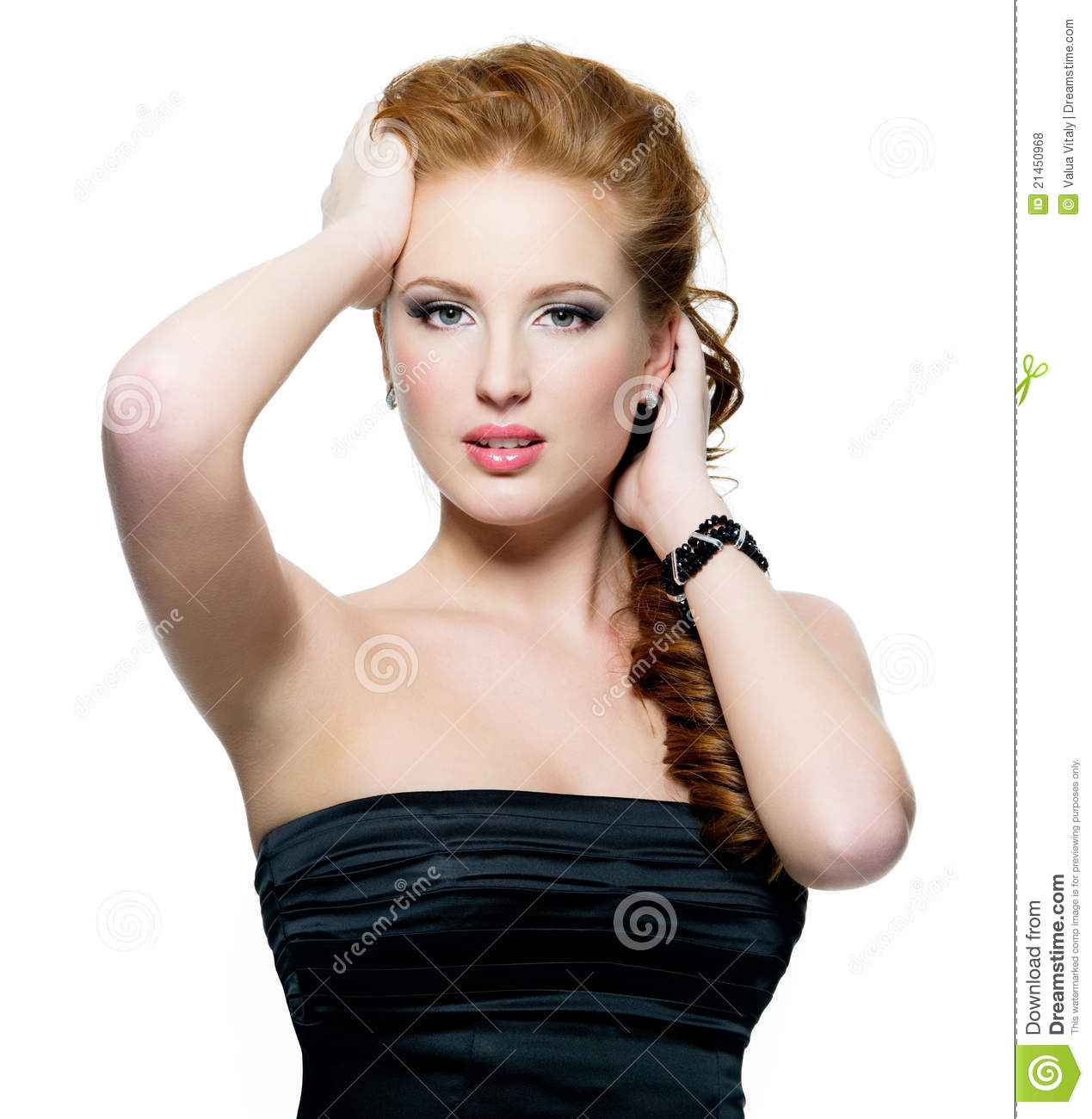 Portrait Of Beautiful Glamour Red-haired Woman Royalty ...