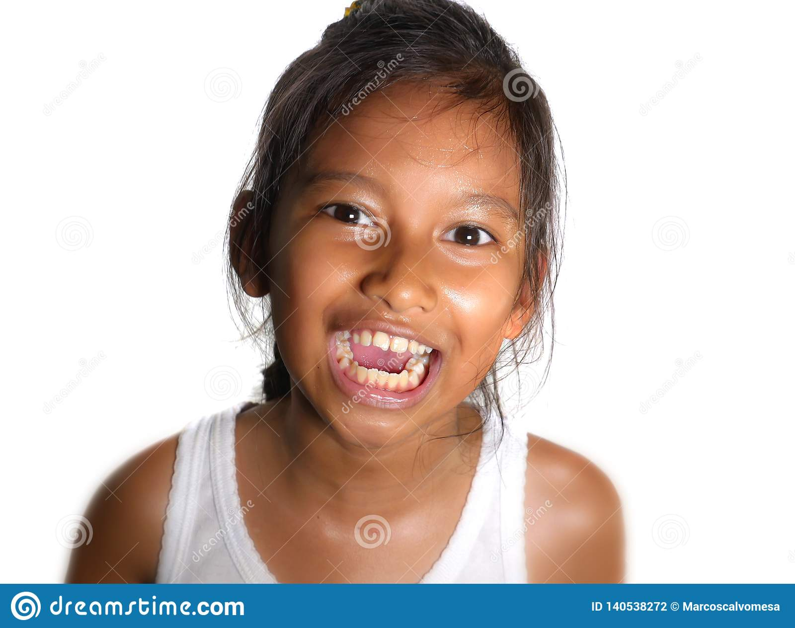Portrait of beautiful happy and excited mixed ethnicity female child smiling cheerful the young girl having fun in kid happiness