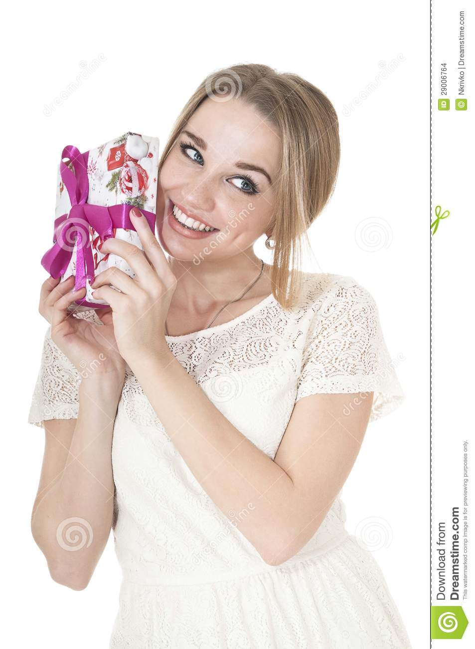 Portrait of beautiful happy woman with a gift box.