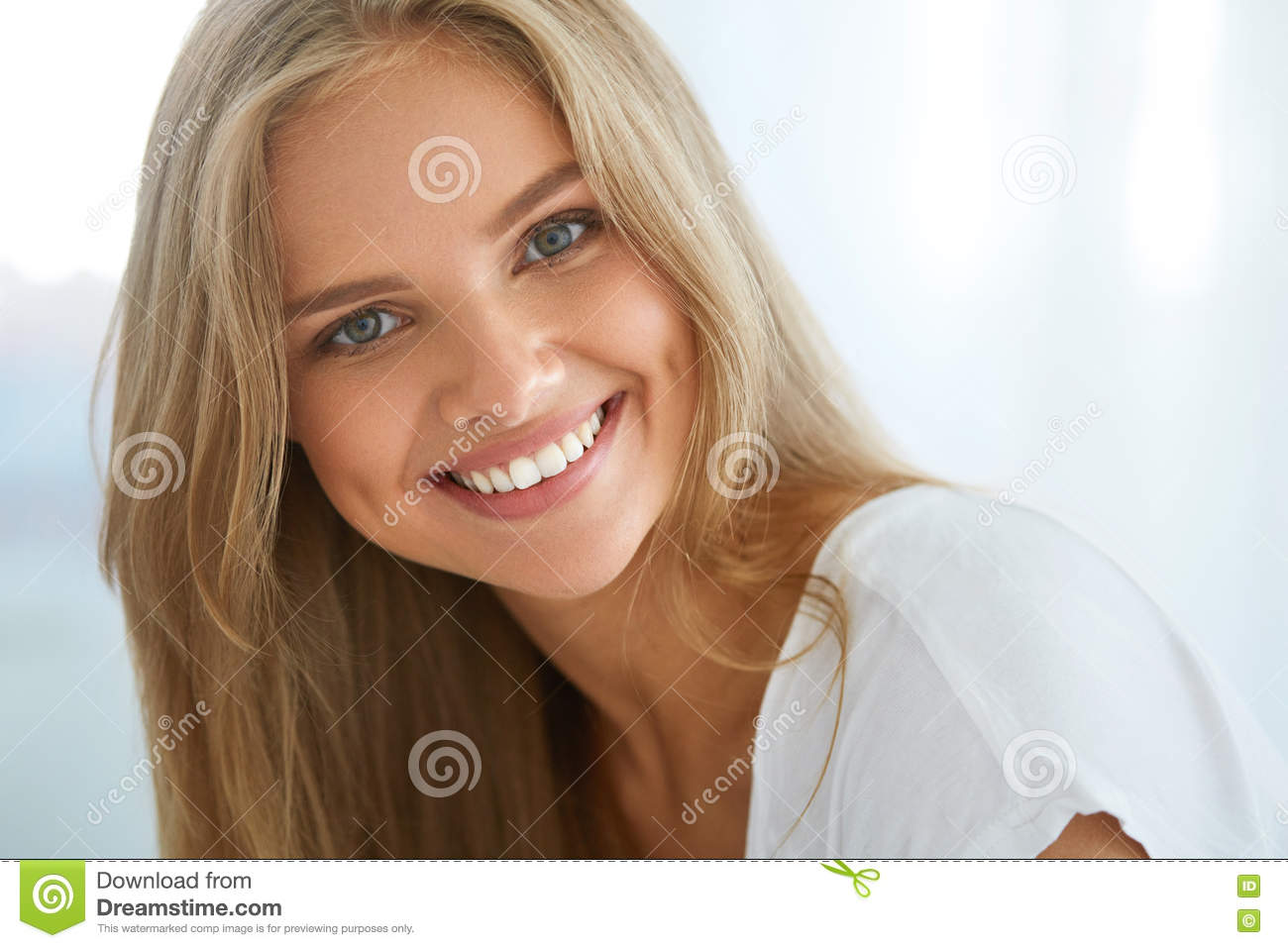 Portrait Beautiful Happy Woman With White Teeth Smiling. Beauty