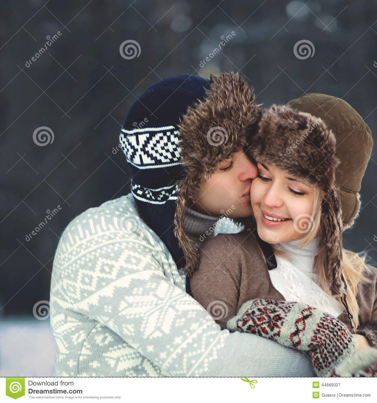 Portrait of a beautiful happy young couple in love