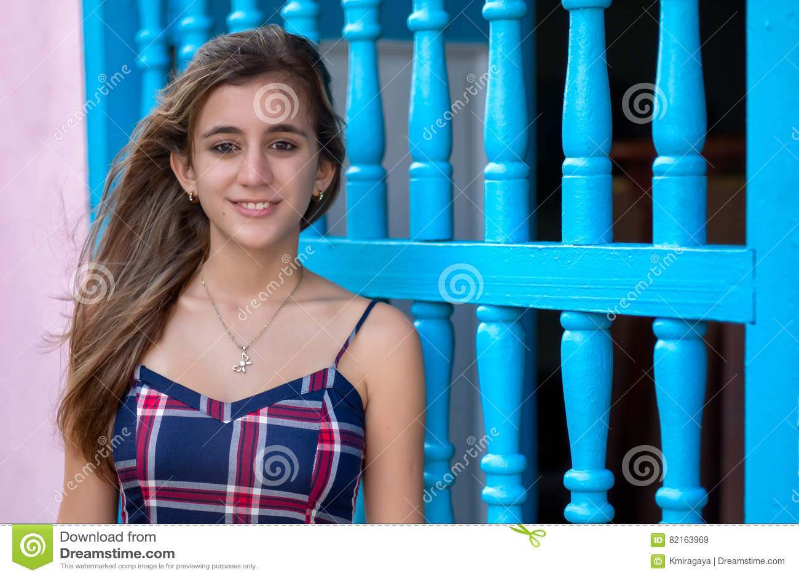 Portrait of a beautiful hispanic teenage girl