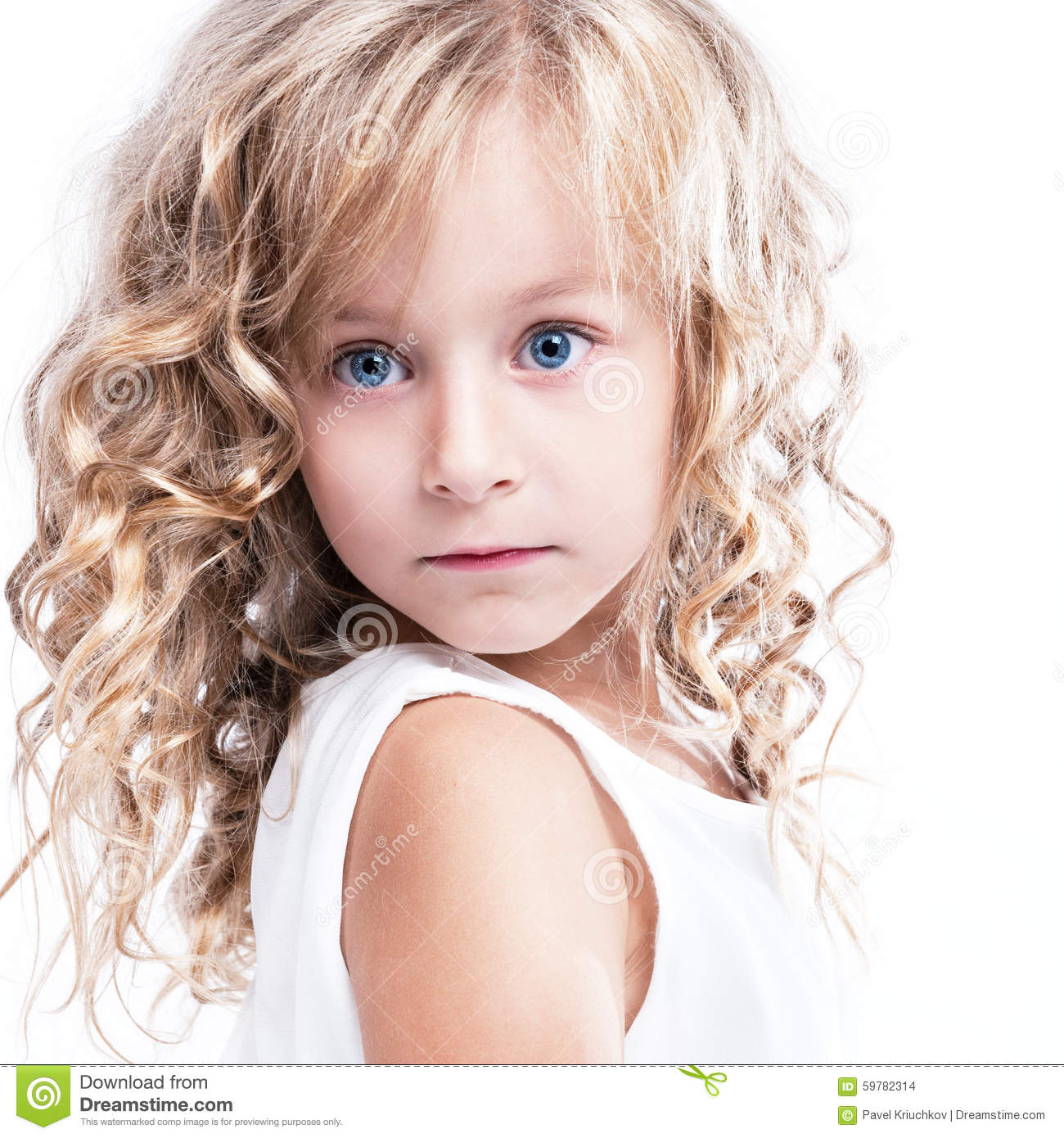 Very Small Beautiful Bathrooms: Portrait Of A Beautiful Little Blonde Girl. Stock Photo