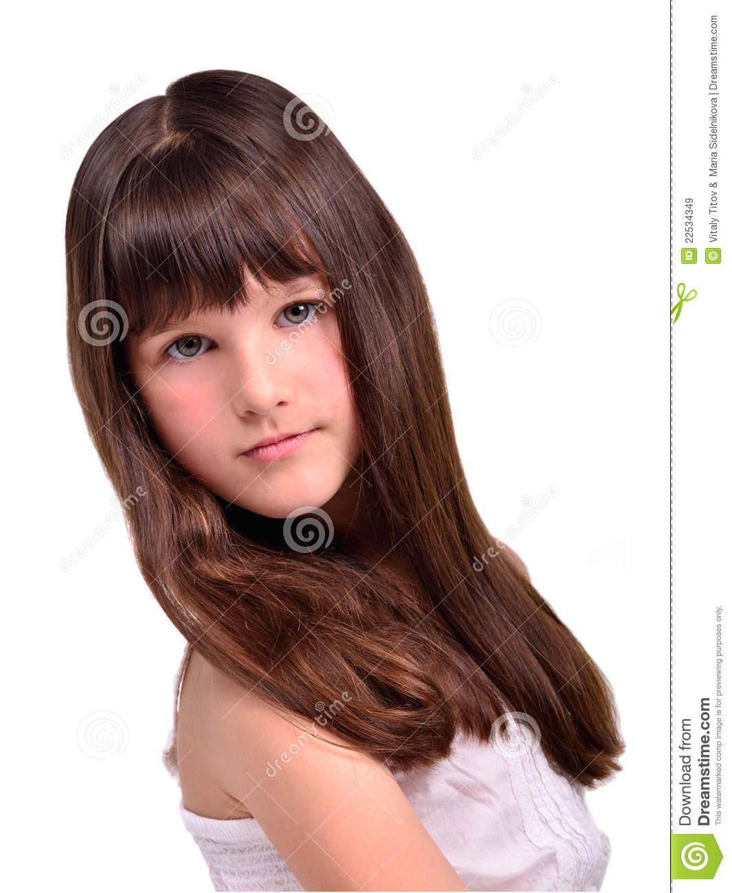 Beautiful Little Girl Bedrooms: Portrait Of Beautiful Little Girl With Long Hair Stock