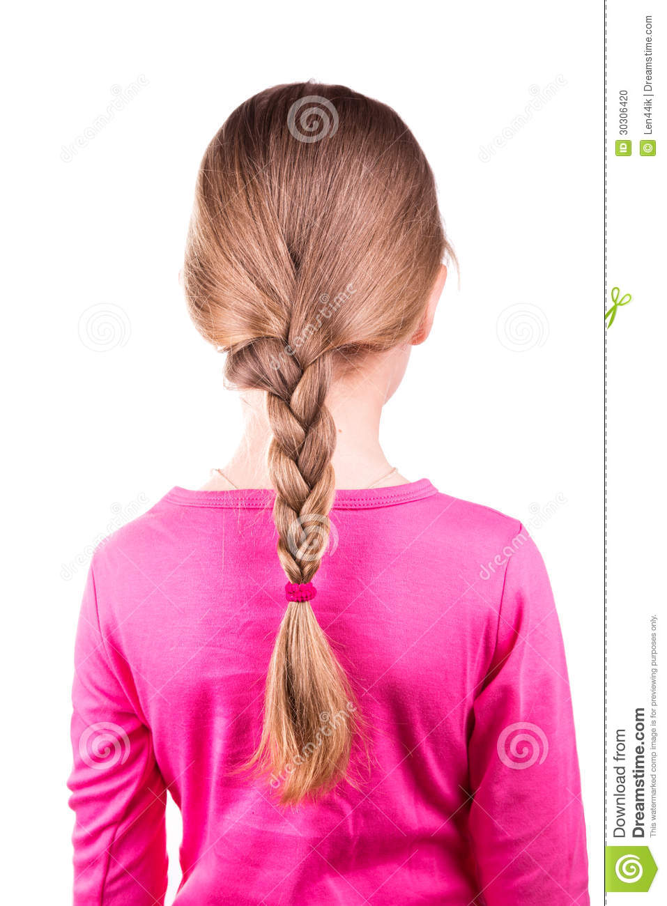 Portrait Of A Beautiful Little Girl With Long Hair In A Braid Hair Care  Concept