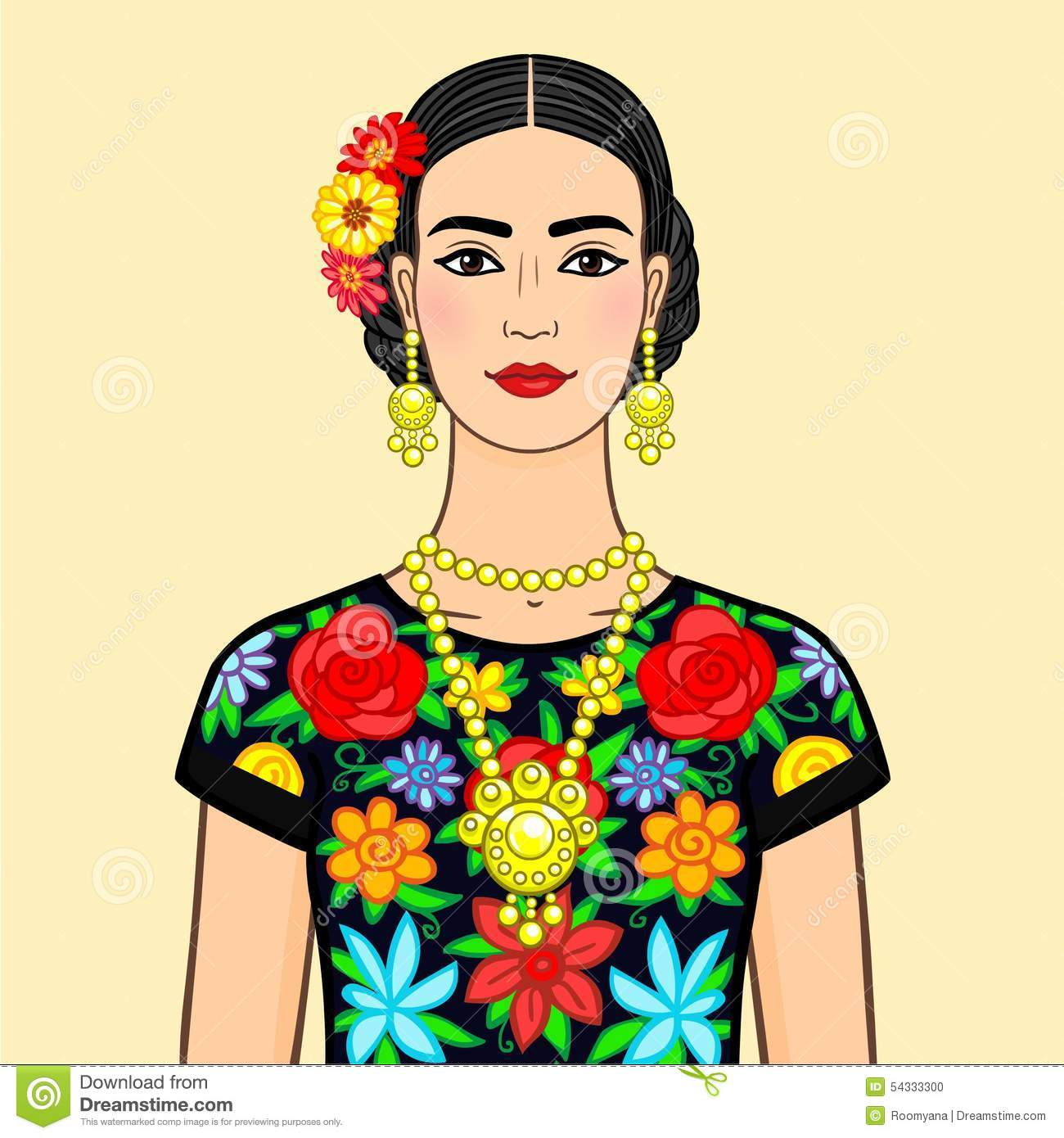 Beautiful Mexican Woman In An Ancient Dress. Stock ...