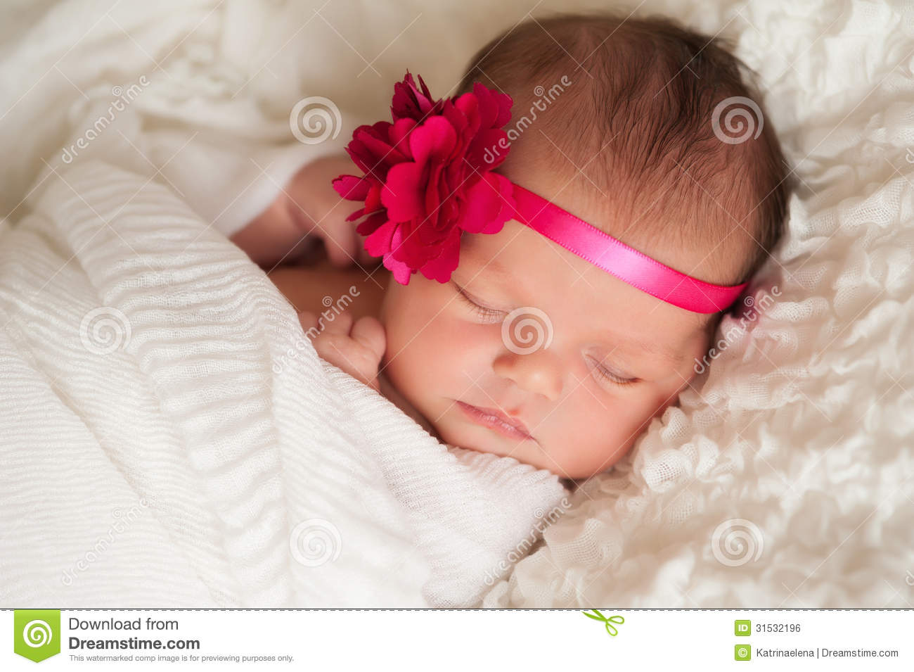 portrait of a beautiful newborn baby girl stock photo - image of
