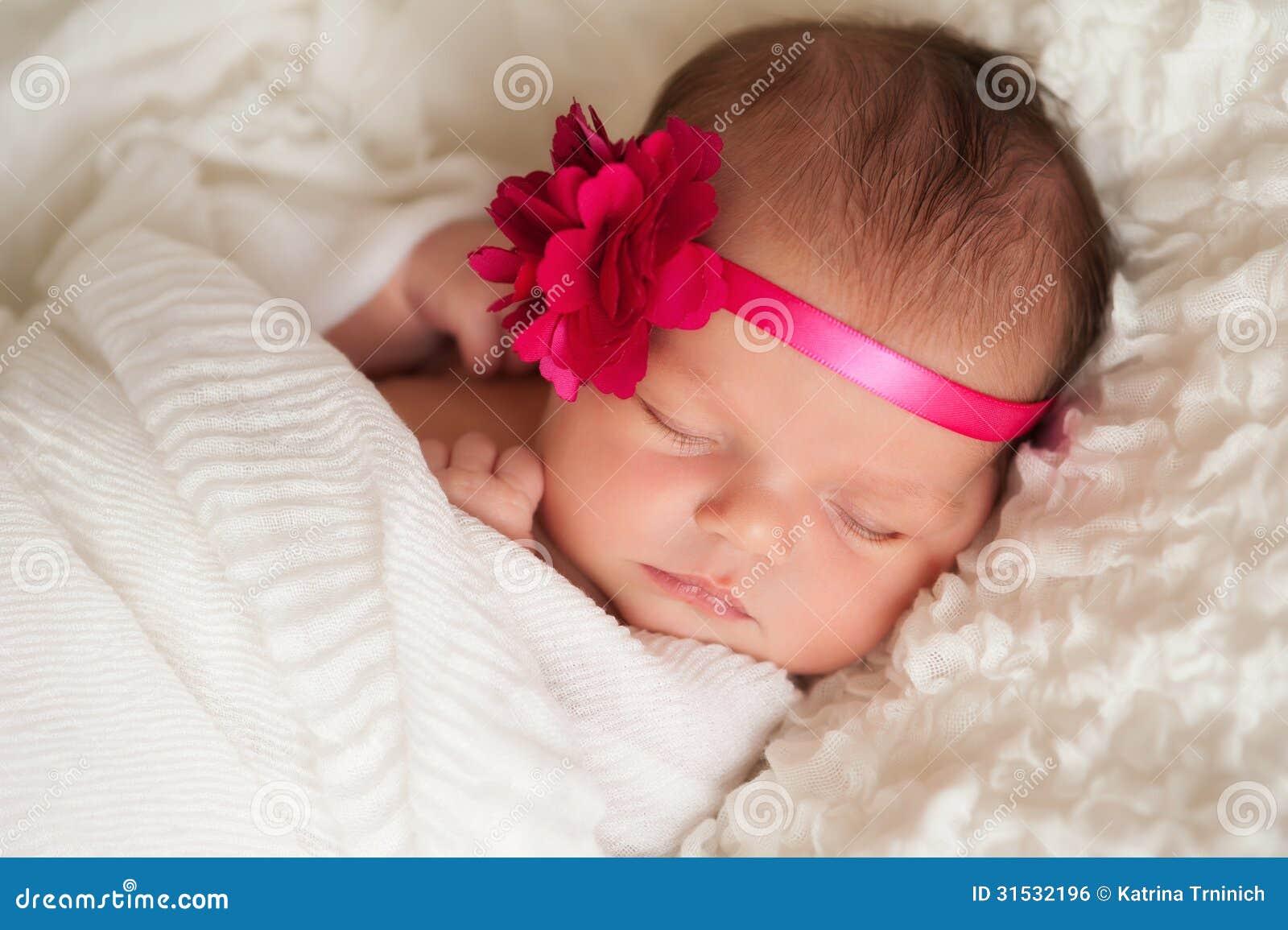 Portrait Of A Beautiful Newborn Baby Girl Stock Photo - Image of