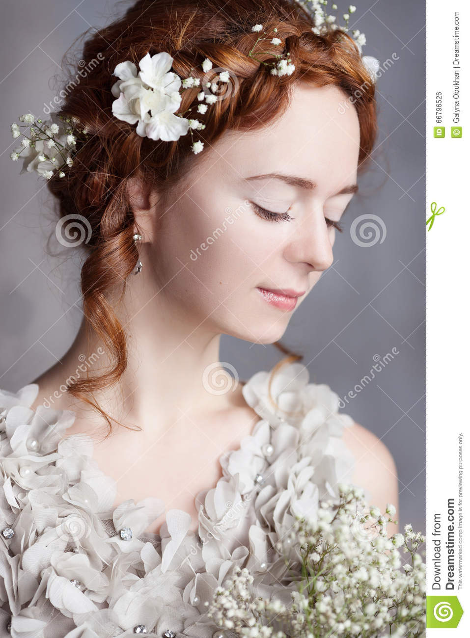 Portrait Of Beautiful Red Haired Bride She Has A Perfect