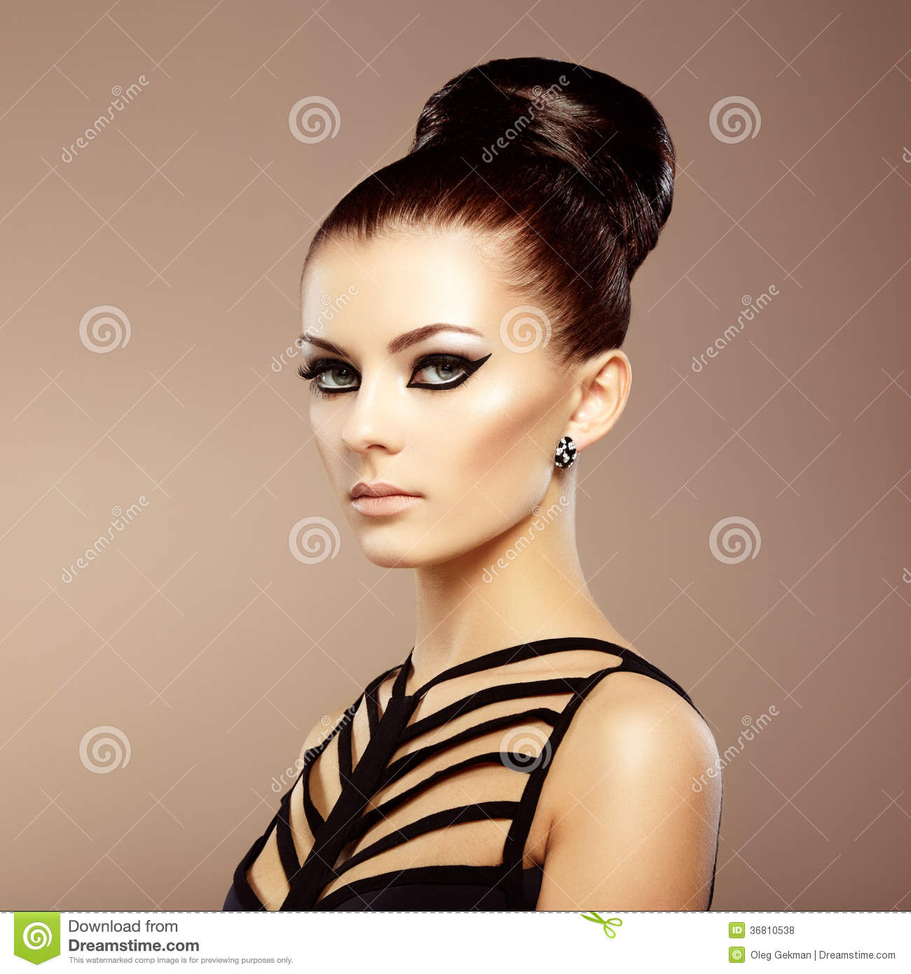 Portrait Of Beautiful Sensual Woman With Elegant Hairstyle ...