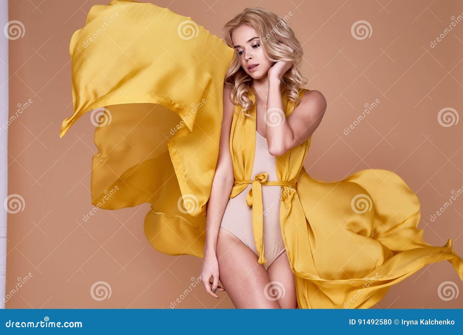 16190a36cd5c Portrait Of Beautiful Woman Blond Heir Wear Long Silk Dress Stock ...