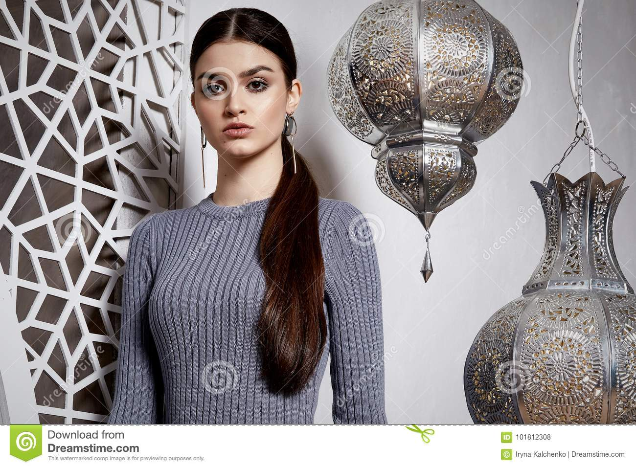 Moroccan Hair Styles: Portrait Beautiful Woman Brunette Hair Style Arabic Stock