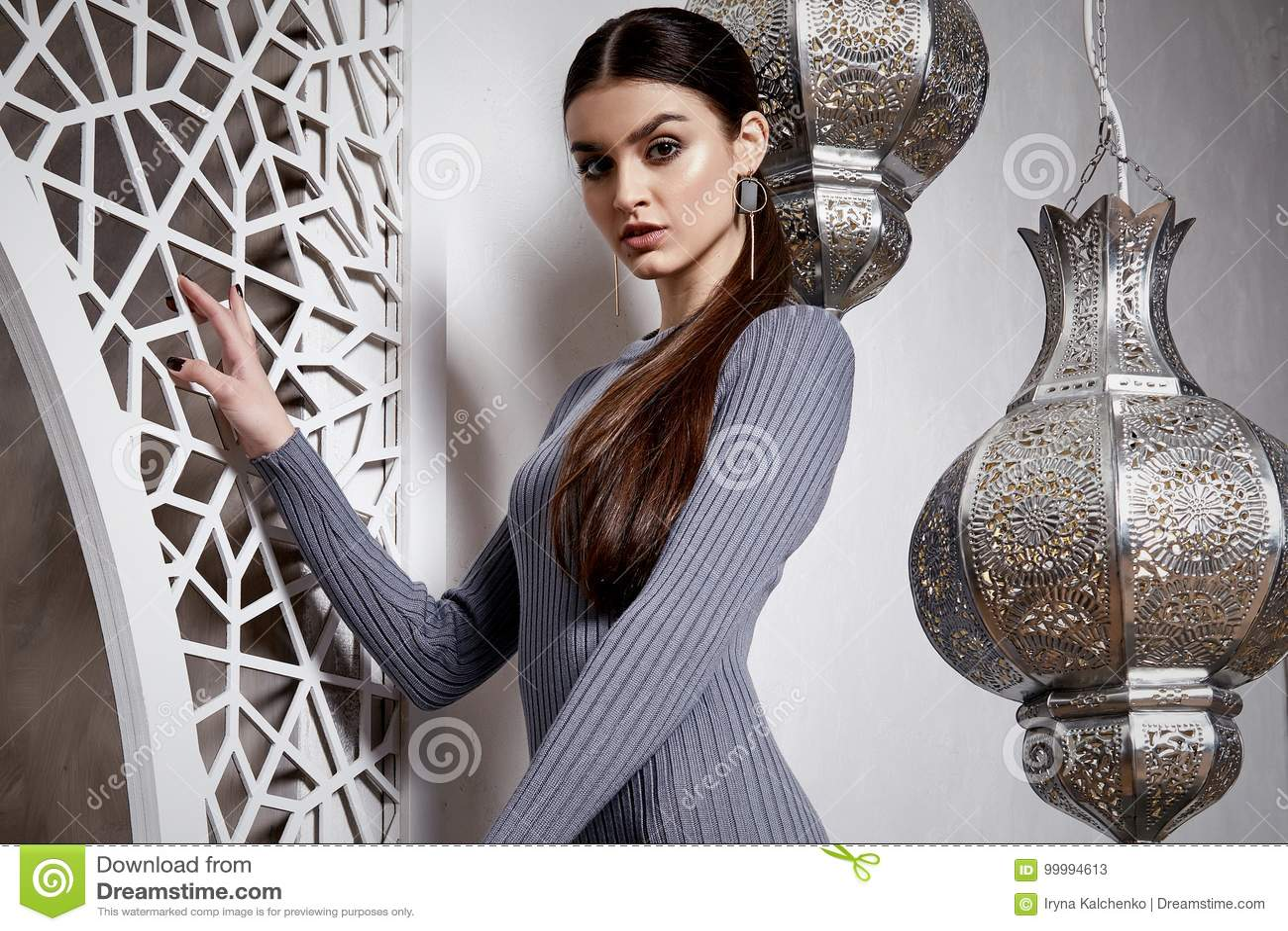 Download Portrait Beautiful Woman Brunette Hair Style Arabic Stock Image - Image of brunette, accessory: 99994613