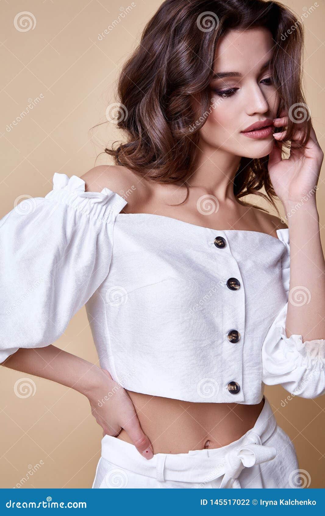 Portrait of beautiful woman perfect face cosmetic skin care beauty salon hairdo hair style model blush mascara lipstick