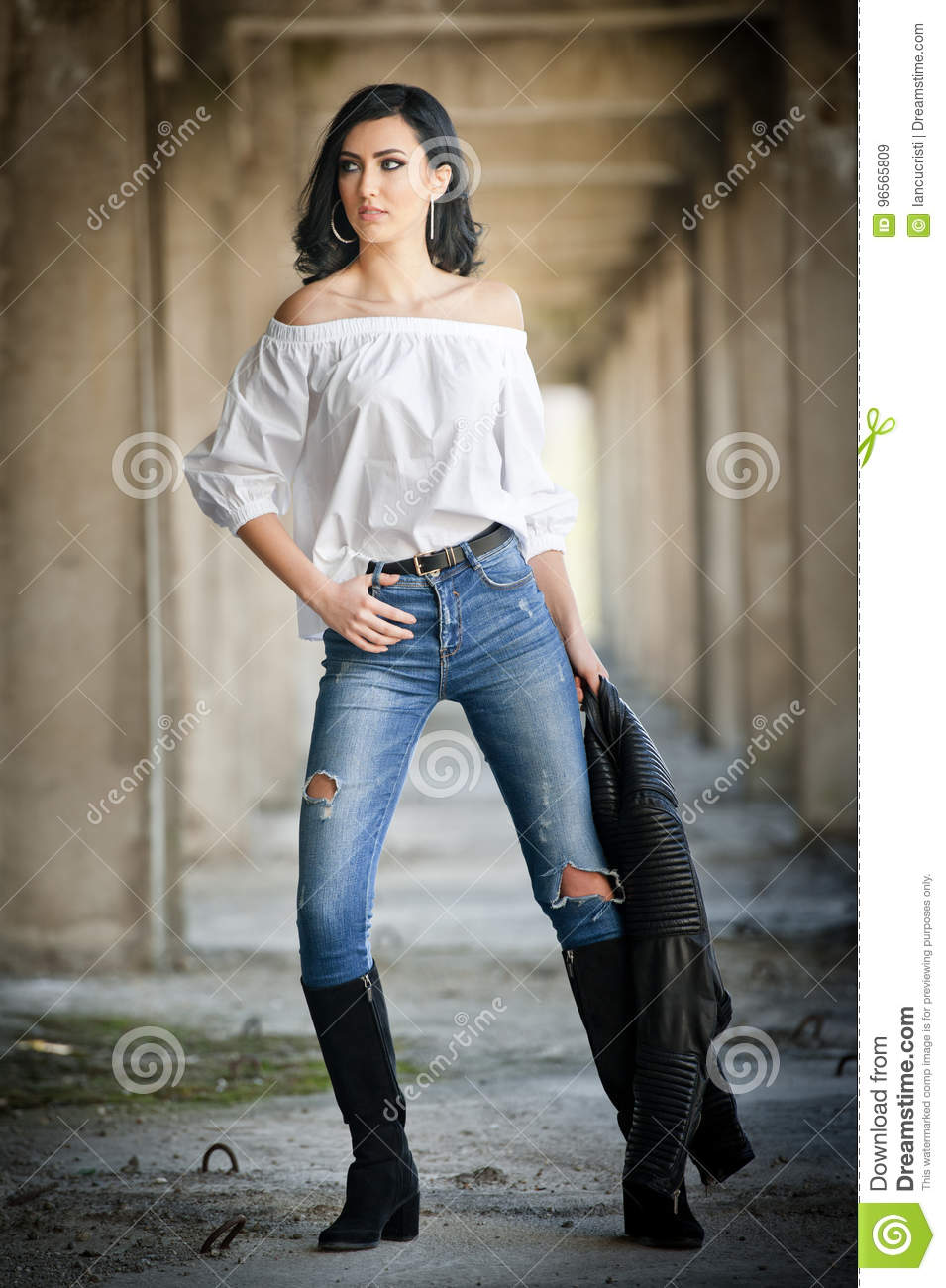 Portrait Of Beautiful Young Woman With Modern Outfit Leather Jacket