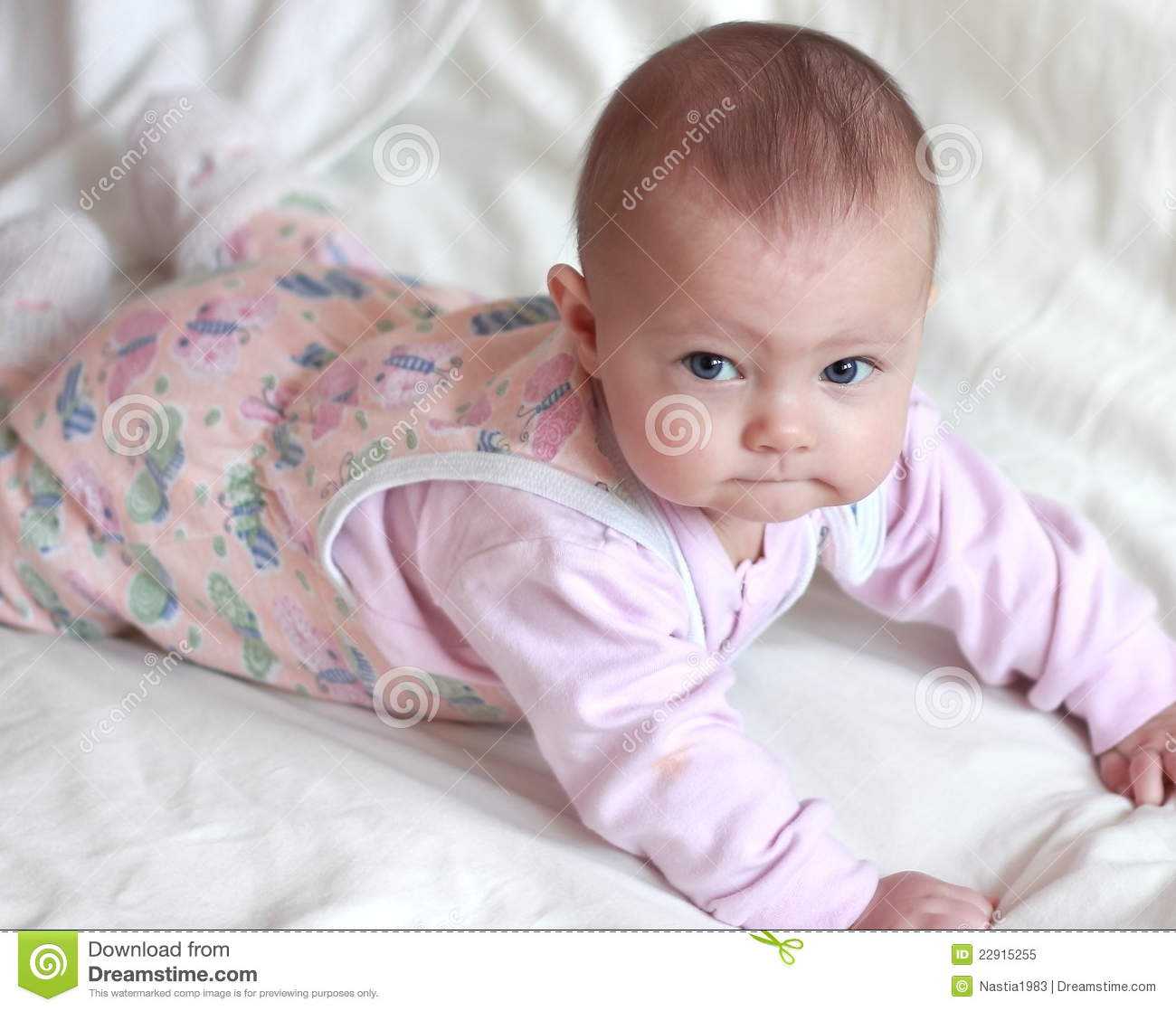 portrait of beautiful small baby girl stock image - image of funny