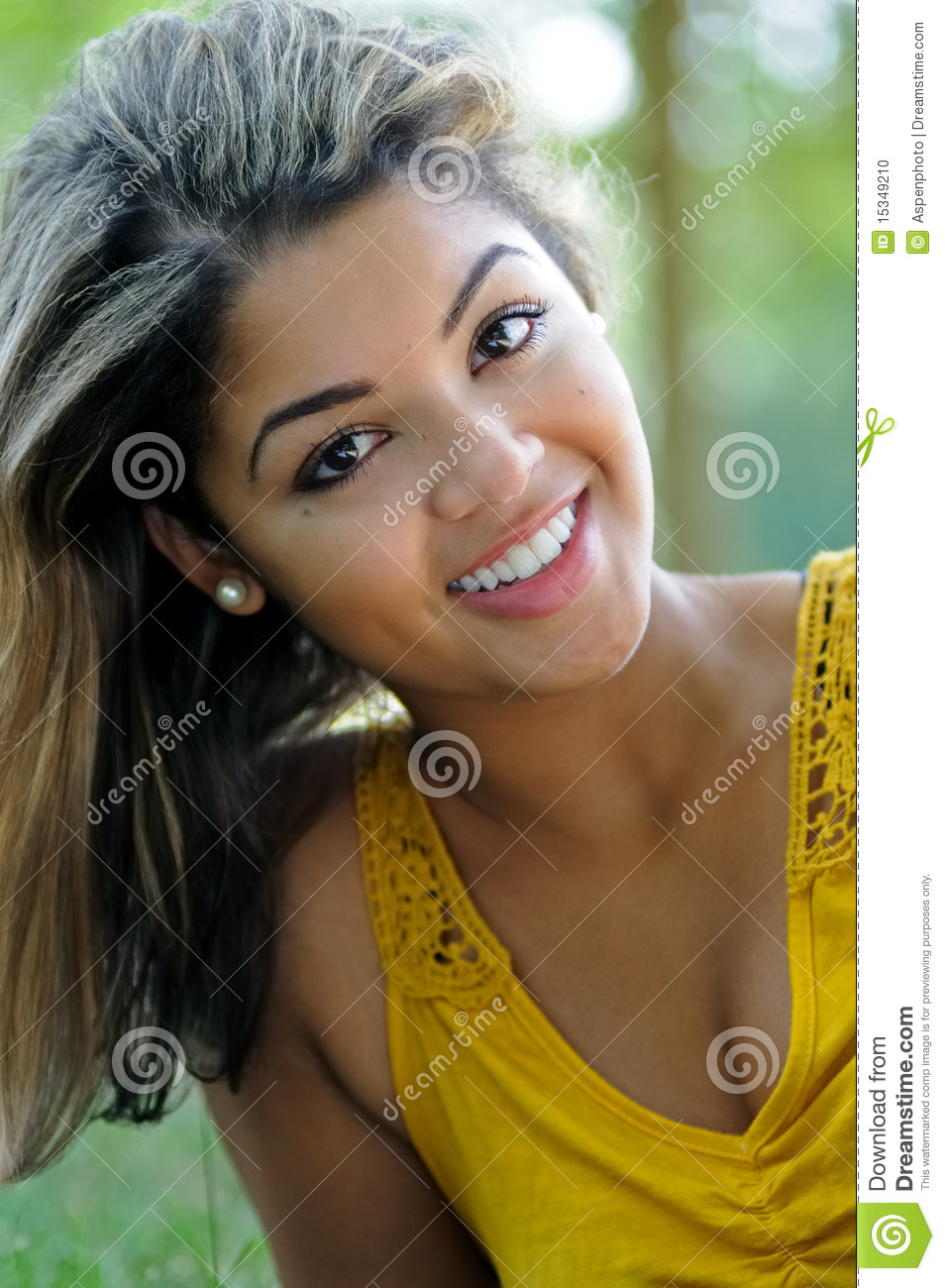 Portrait Of A Beautiful Smiling Biracial Woman Stock Photo - Image ...