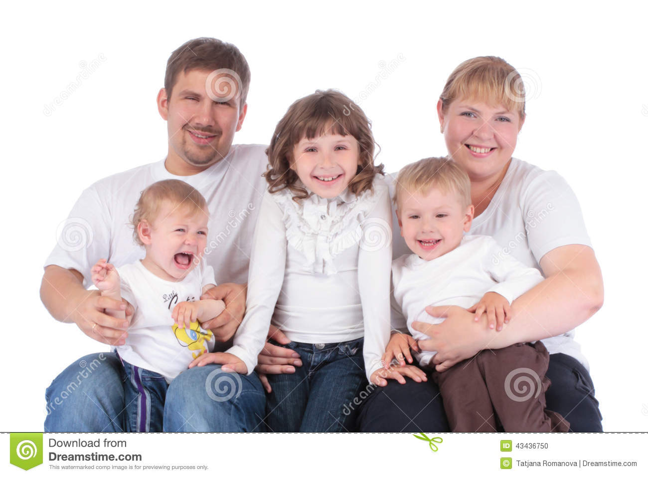 Portrait of beautiful smiling happy family of five