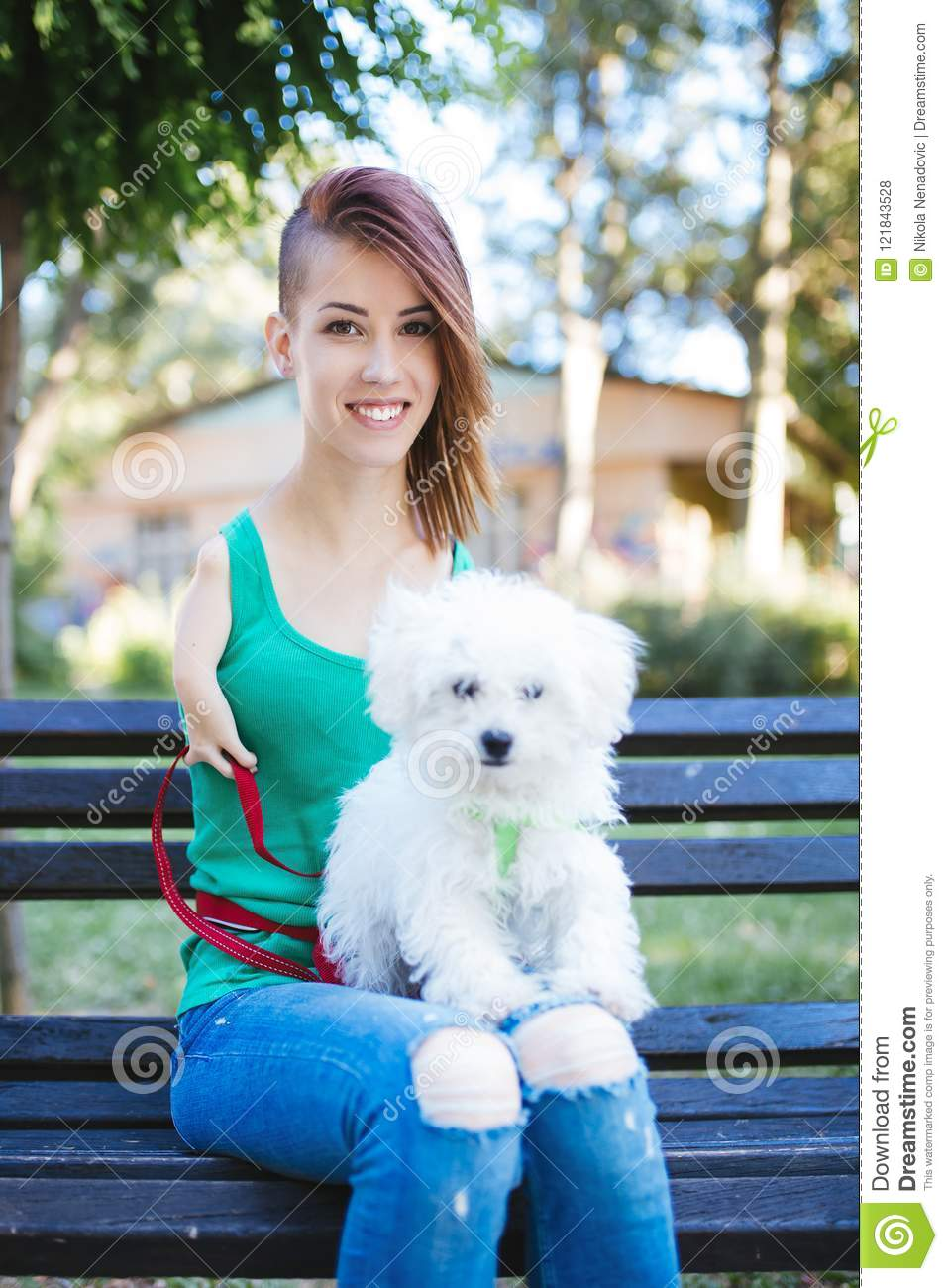 Disabled young woman with dog