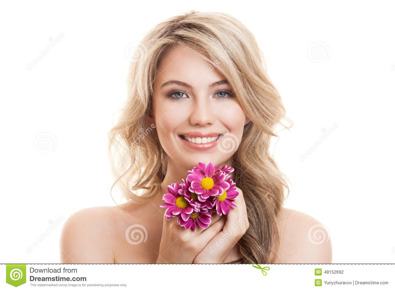 Portrait of beautiful smiling woman with flowers clear skin background beautiful clear flowers dhlflorist Gallery