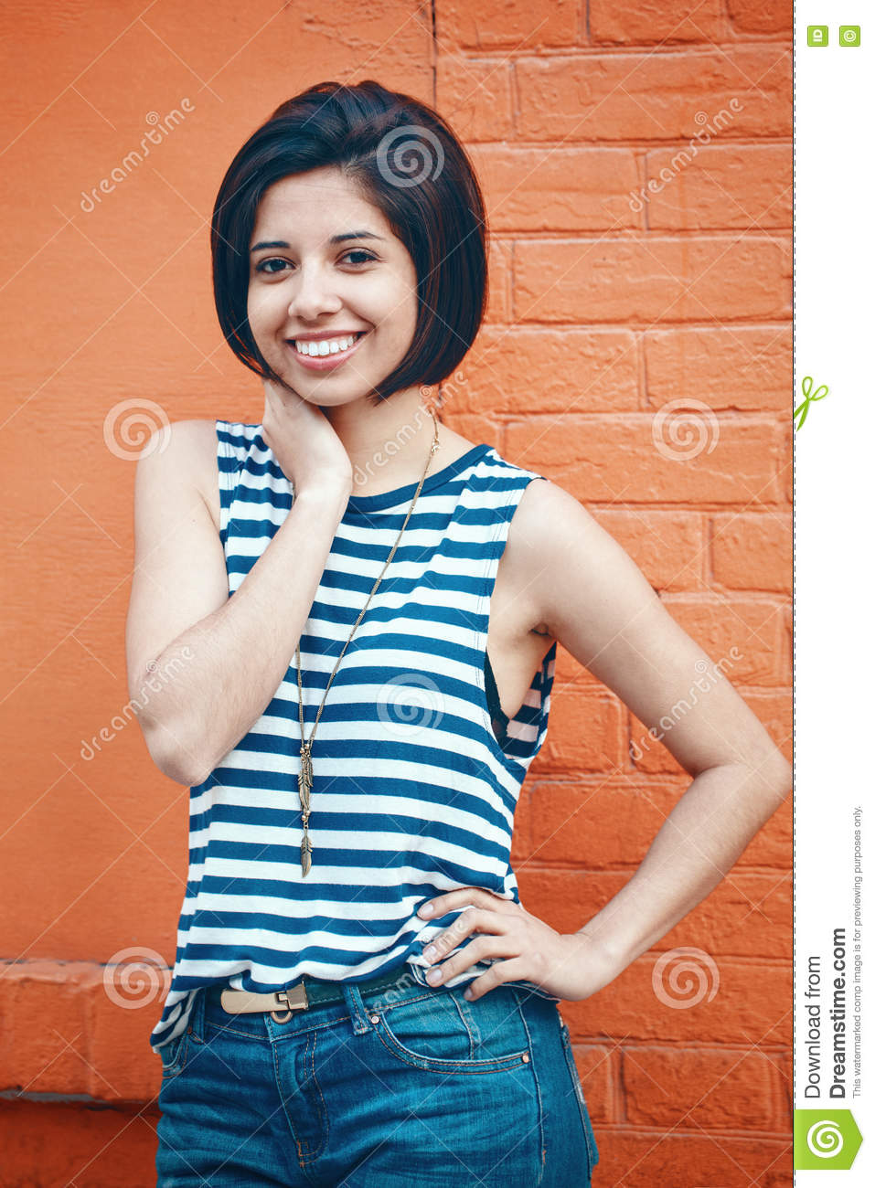 98a4d822ad71 Portrait Of Beautiful Smiling Young Hipster Latin Hispanic Girl ...