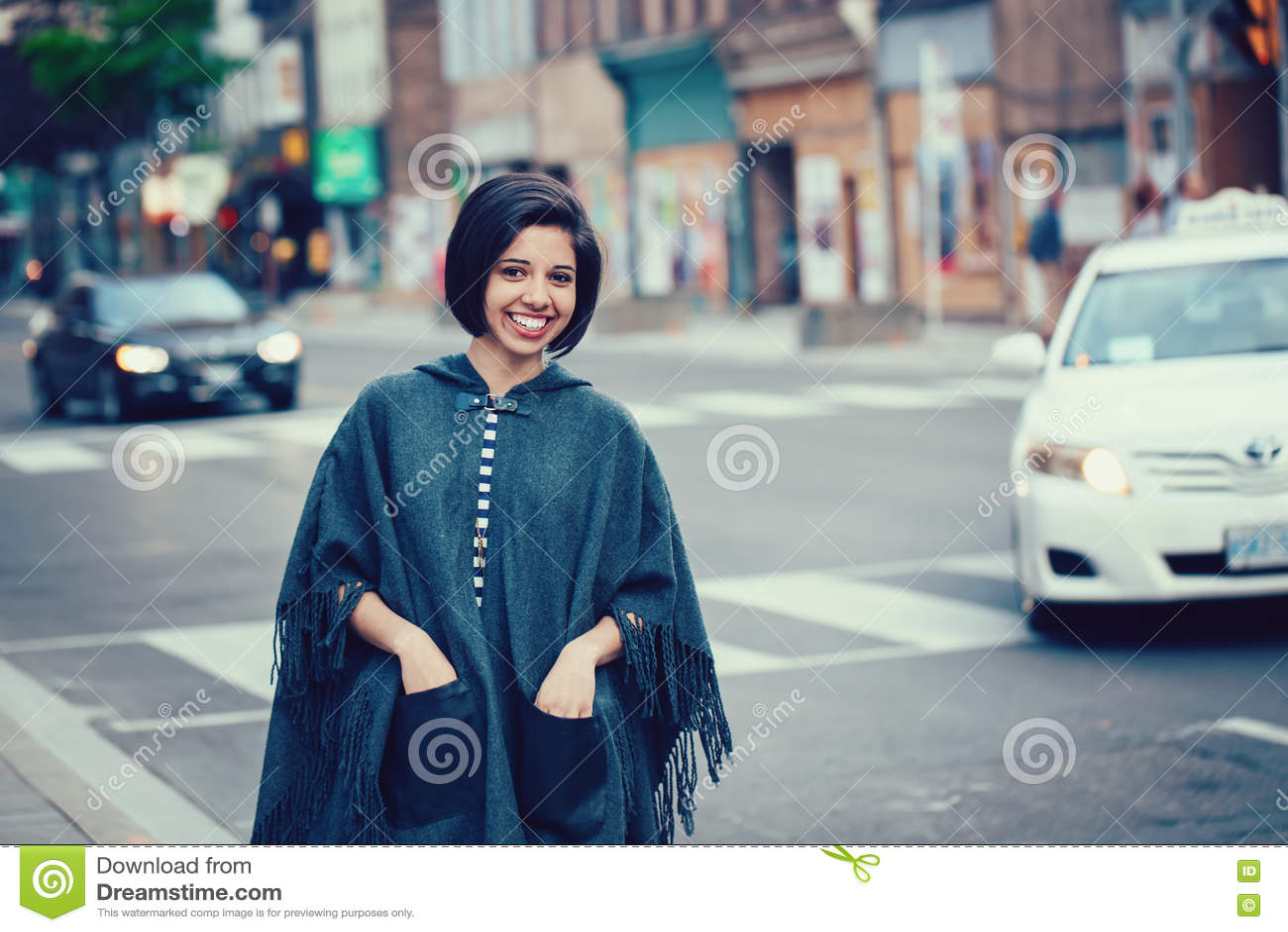 Portrait Of Beautiful Smiling Young Hipster Latin Hispanic