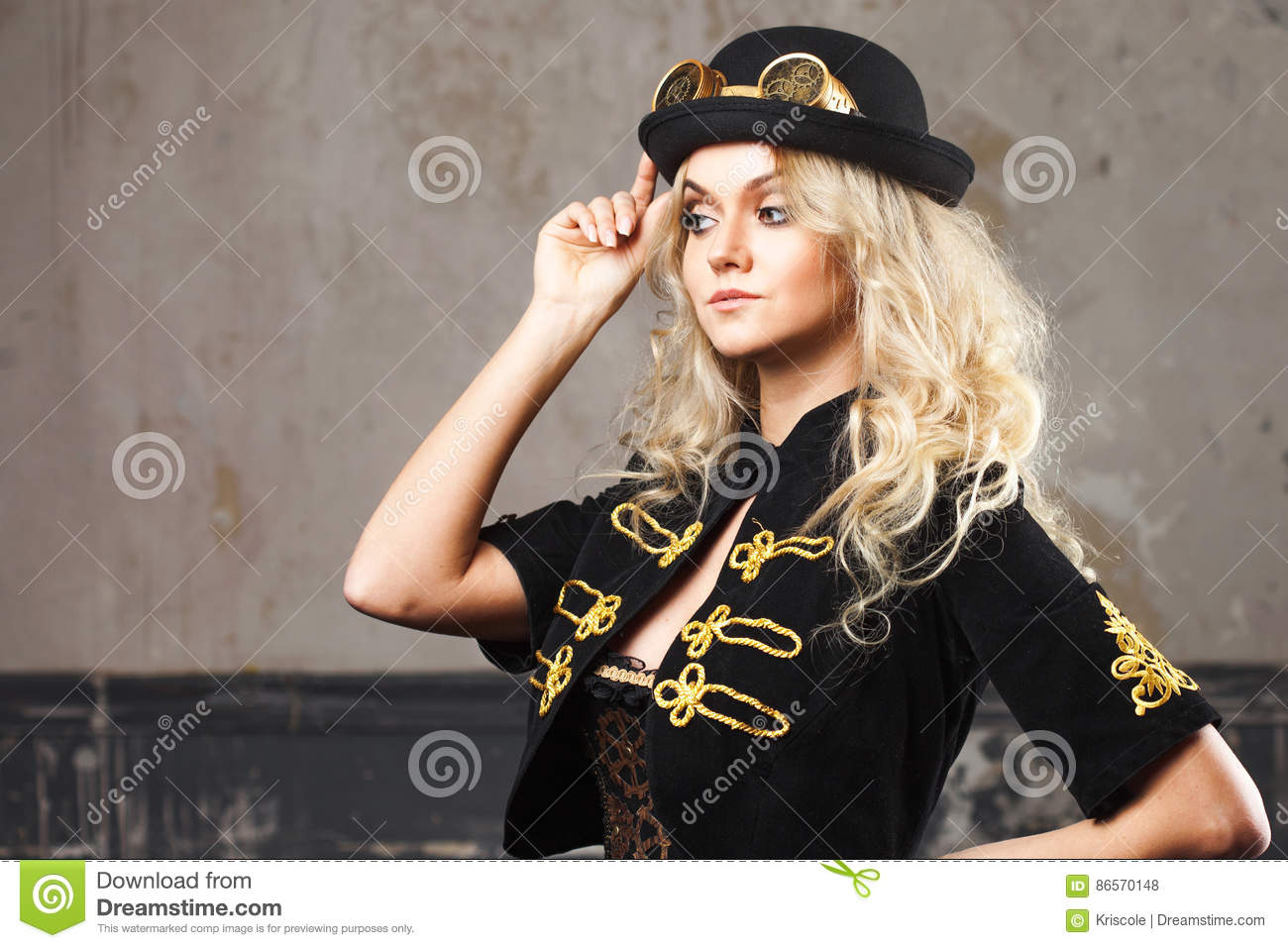 717c6564123 Portrait of a beautiful steampunk woman hat-bowler hat over grunge  background.