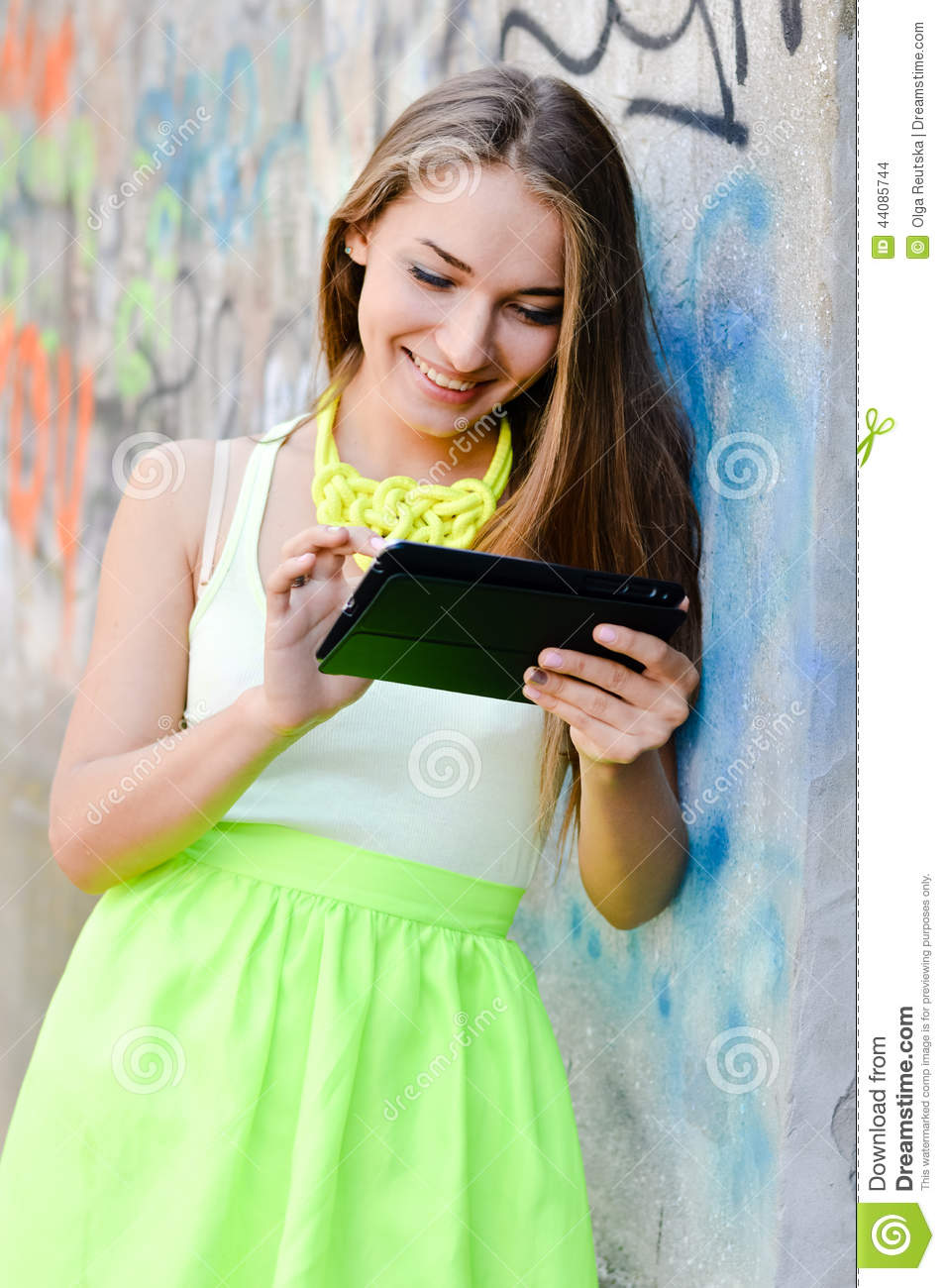 Portrait of beautiful stylish blonde young woman using tablet pc portrait of beautiful stylish blonde young woman using tablet pc computer having fun happy smiling voltagebd Images